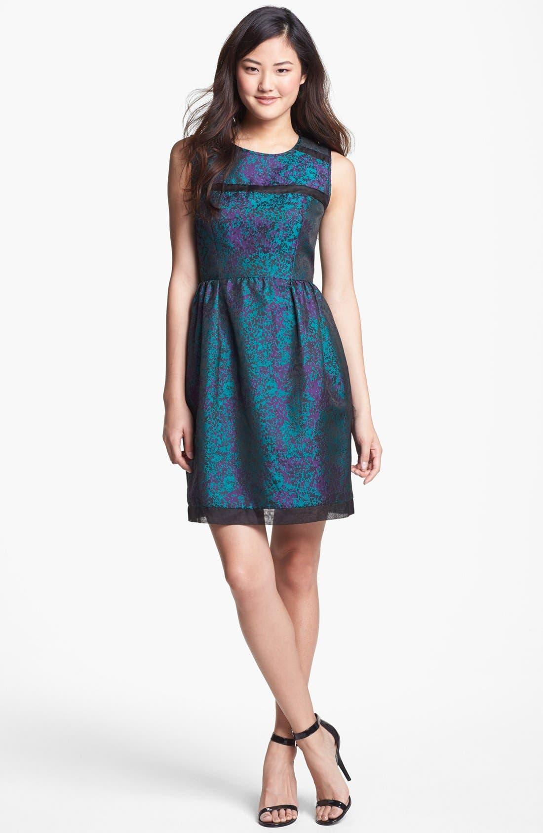 Main Image - Ivy & Blu Brocade Fit & Flare Dress (Petite)