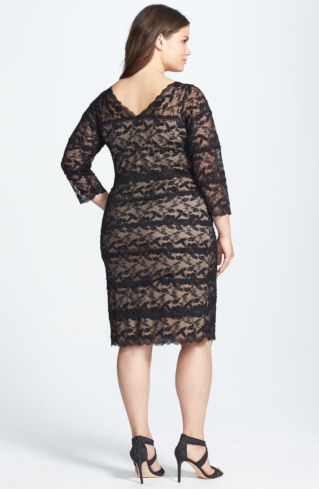 Alternate Image 2  - Marina Tiered Lace Sheath Dress (Plus Size)