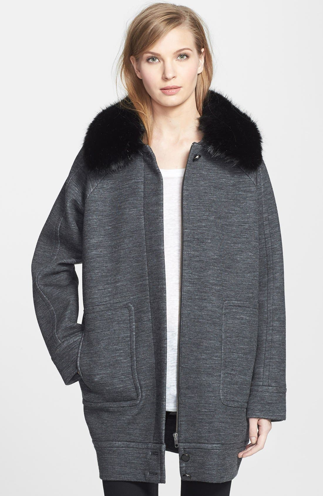 Main Image - MARC BY MARC JACOBS 'Gertrude' Faux Fur & Double Face Wool Blend Coat