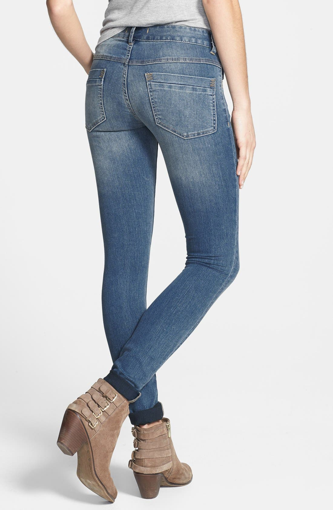Alternate Image 2  - Free People Lightweight Stretch Skinny Jeans (Ocean Blue)