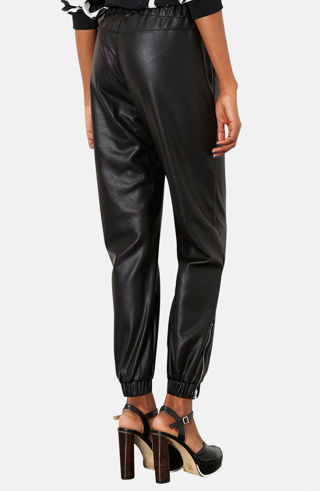 Alternate Image 2  - Topshop Faux Leather Track Pants