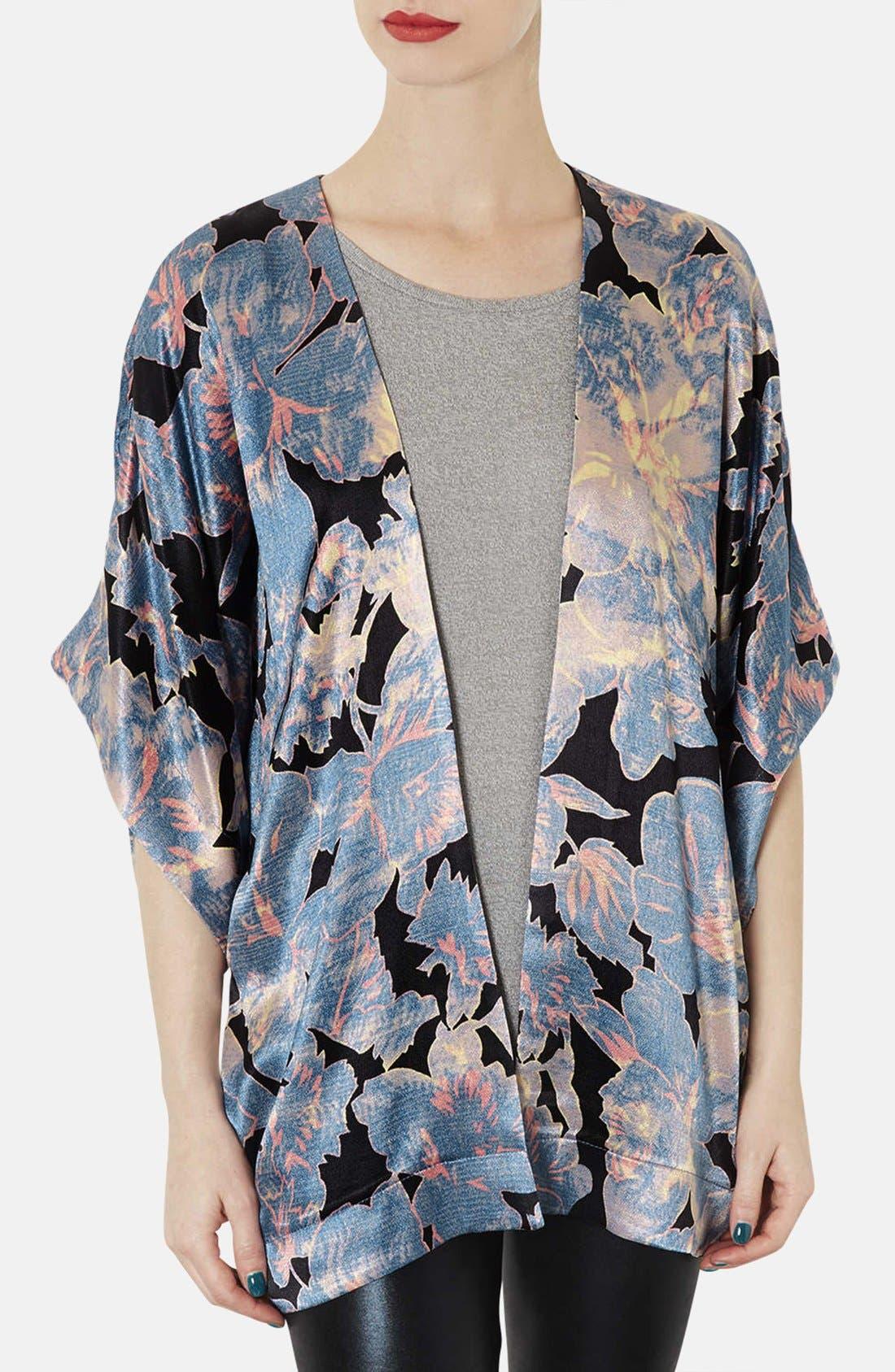 Main Image - Topshop 'Chateau Femme' Print Satin Kimono Jacket