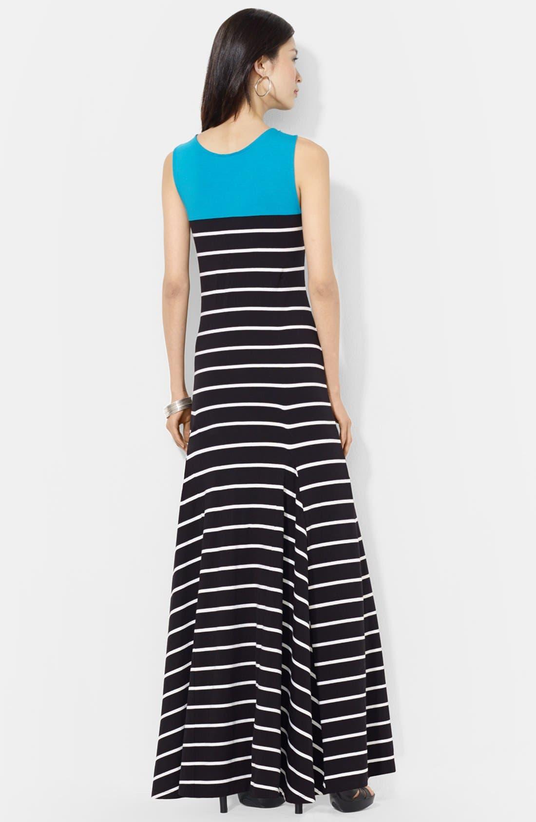 Alternate Image 3  - Lauren Ralph Lauren Colorblock Stripe Jersey Maxi dress