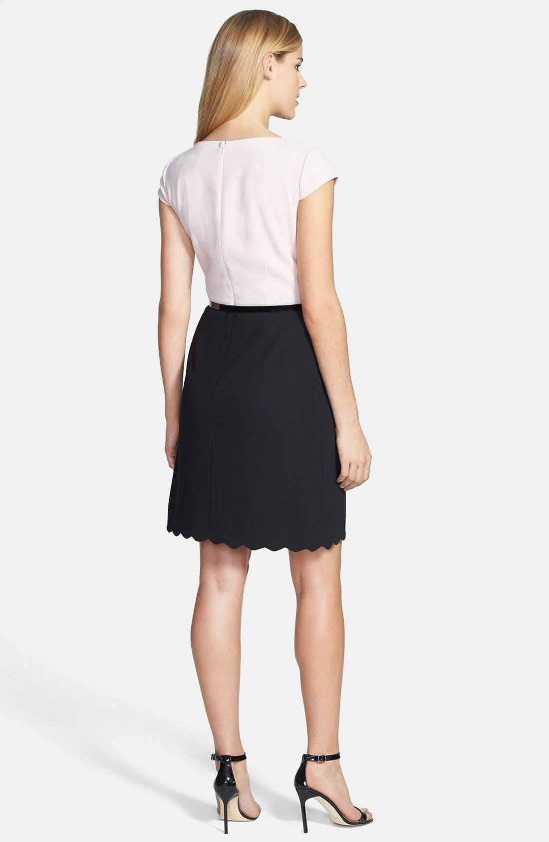 Alternate Image 2  - Tahari Two-Tone Crepe Fit & Flare Dress