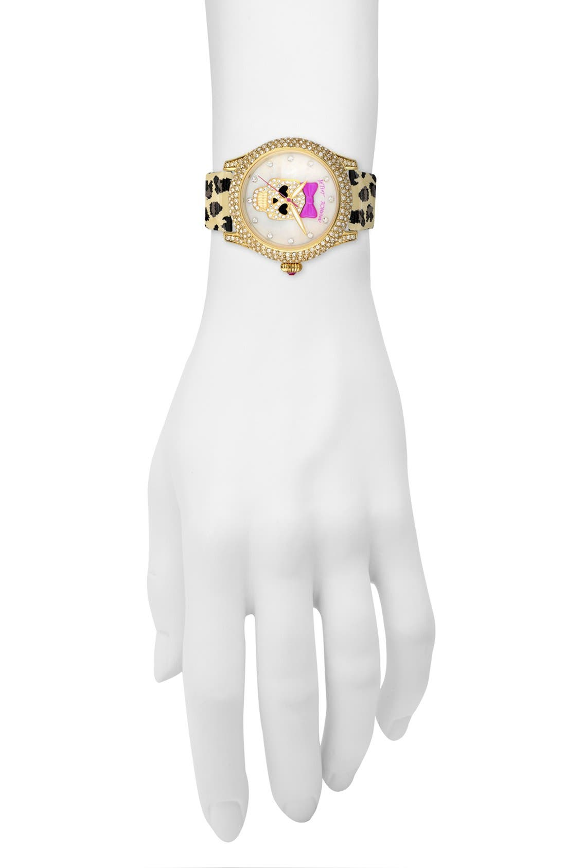 Alternate Image 4  - Betsey Johnson Skull Dial Leather Strap Watch, 40mm