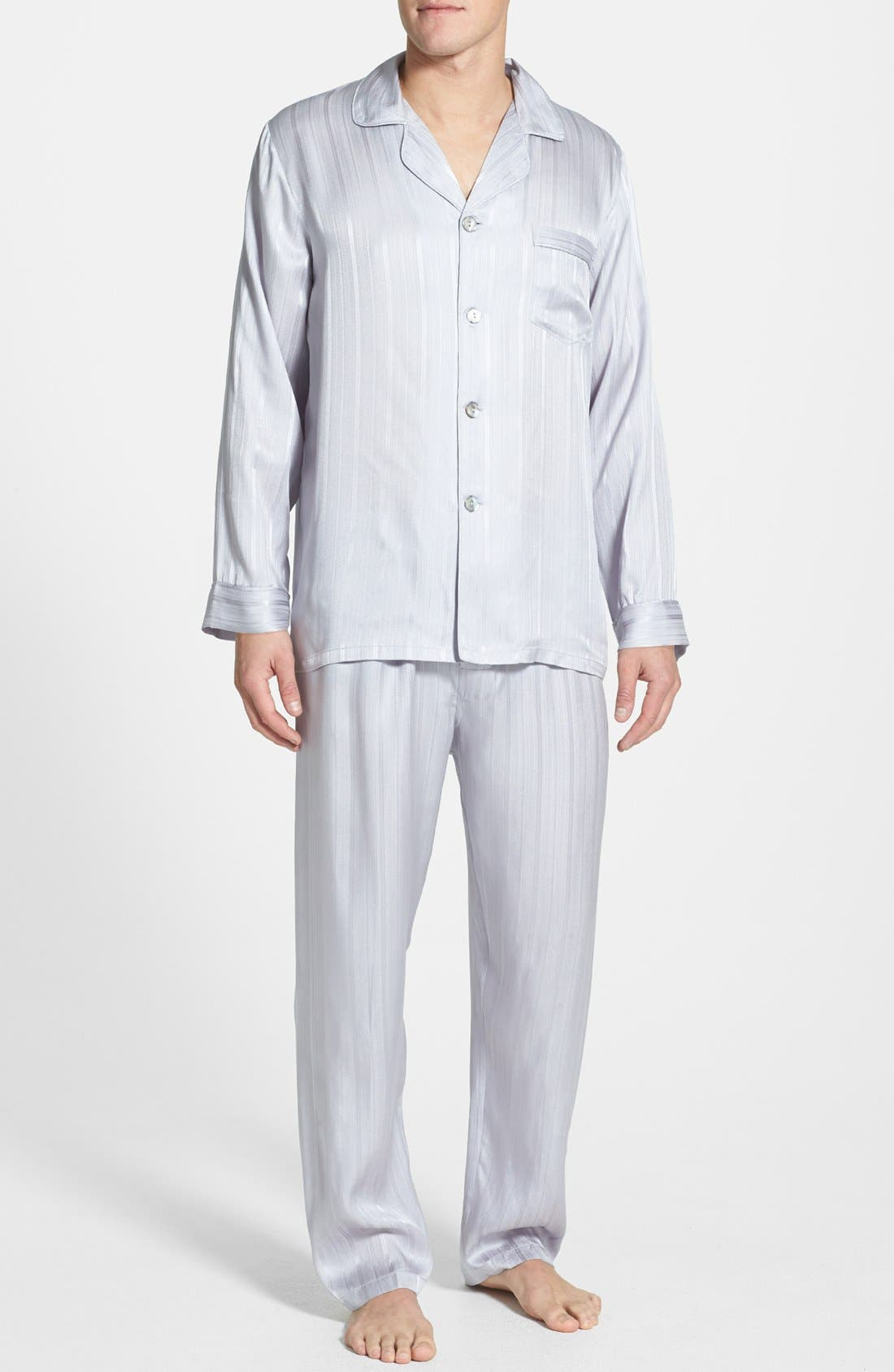 Alternate Image 1 Selected - Majestic International Herringbone Stripe Silk Pajamas