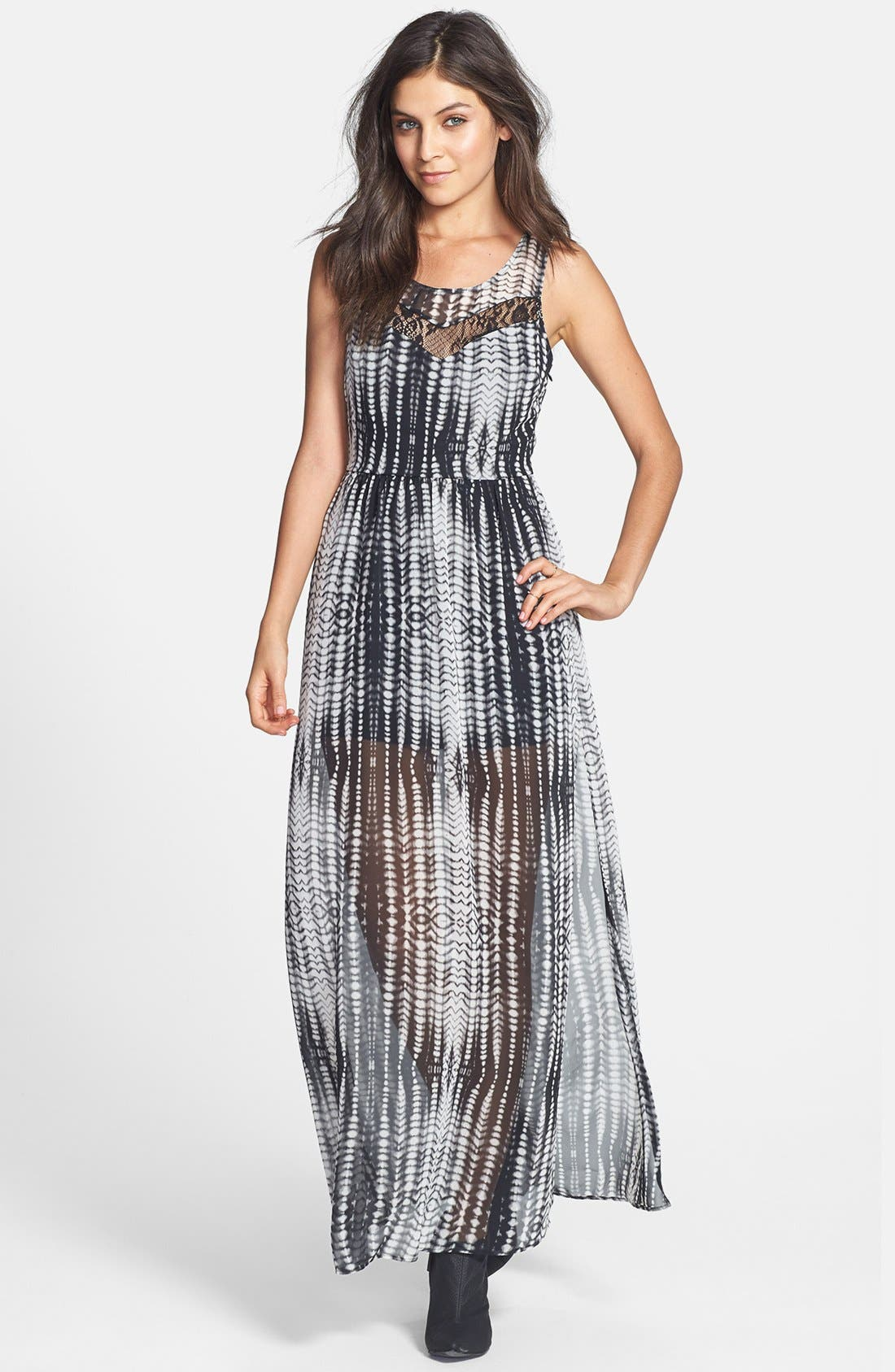 Alternate Image 1 Selected - Lace Inset Print Maxi Dress