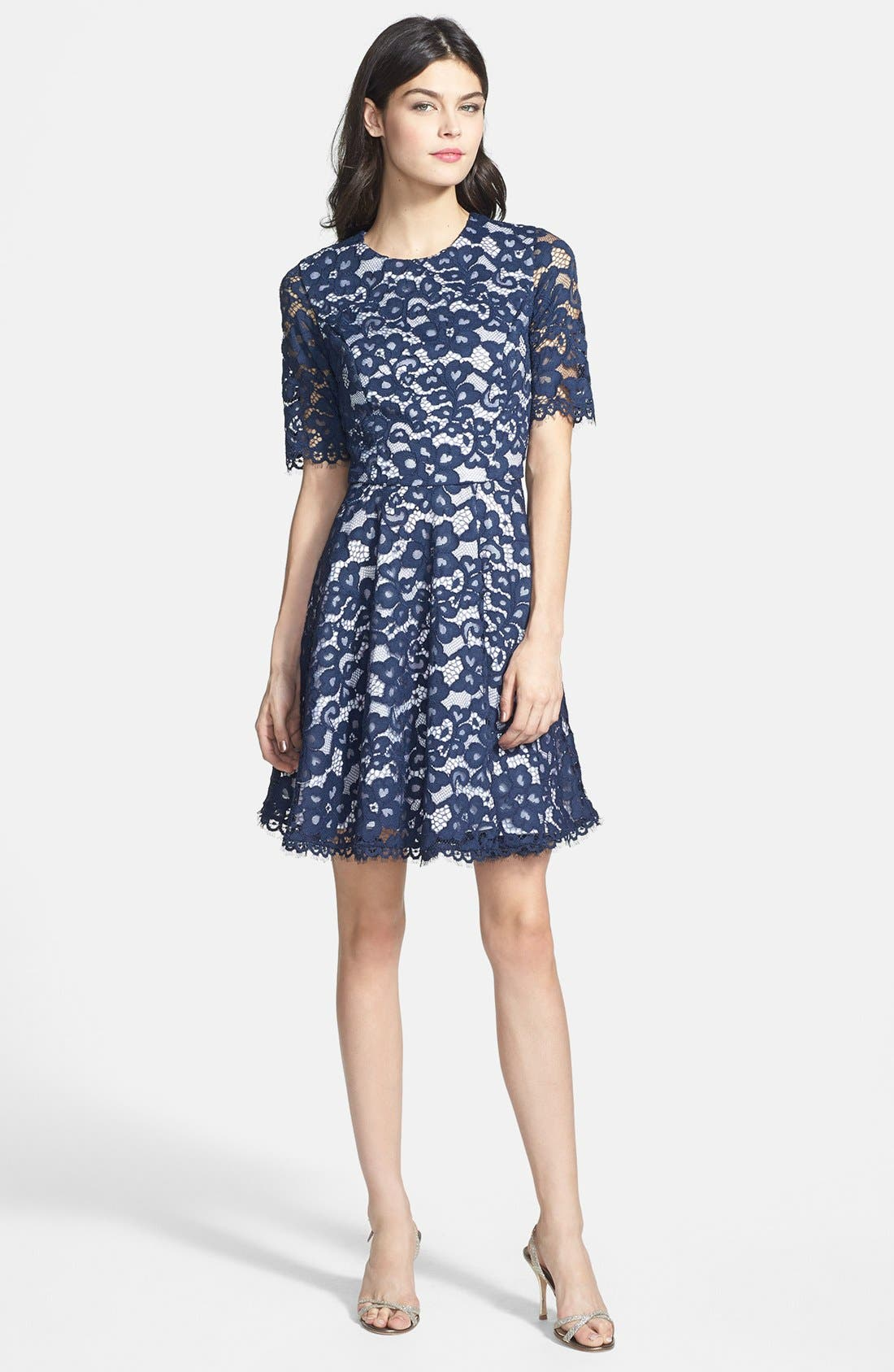 Main Image - Shoshanna 'Carmen' Lace Fit & Flare Dress