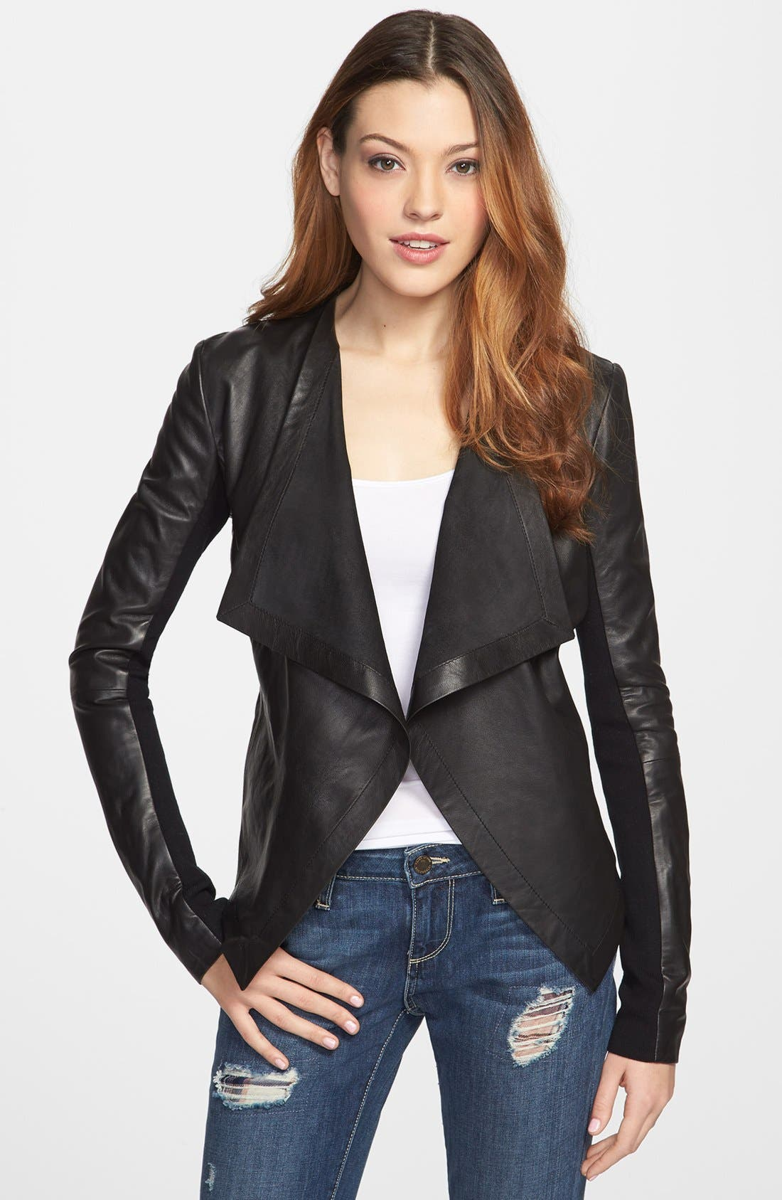 Alternate Image 1 Selected - Halogen® 'Waterfall' Leather Jacket (Regular & Petite)