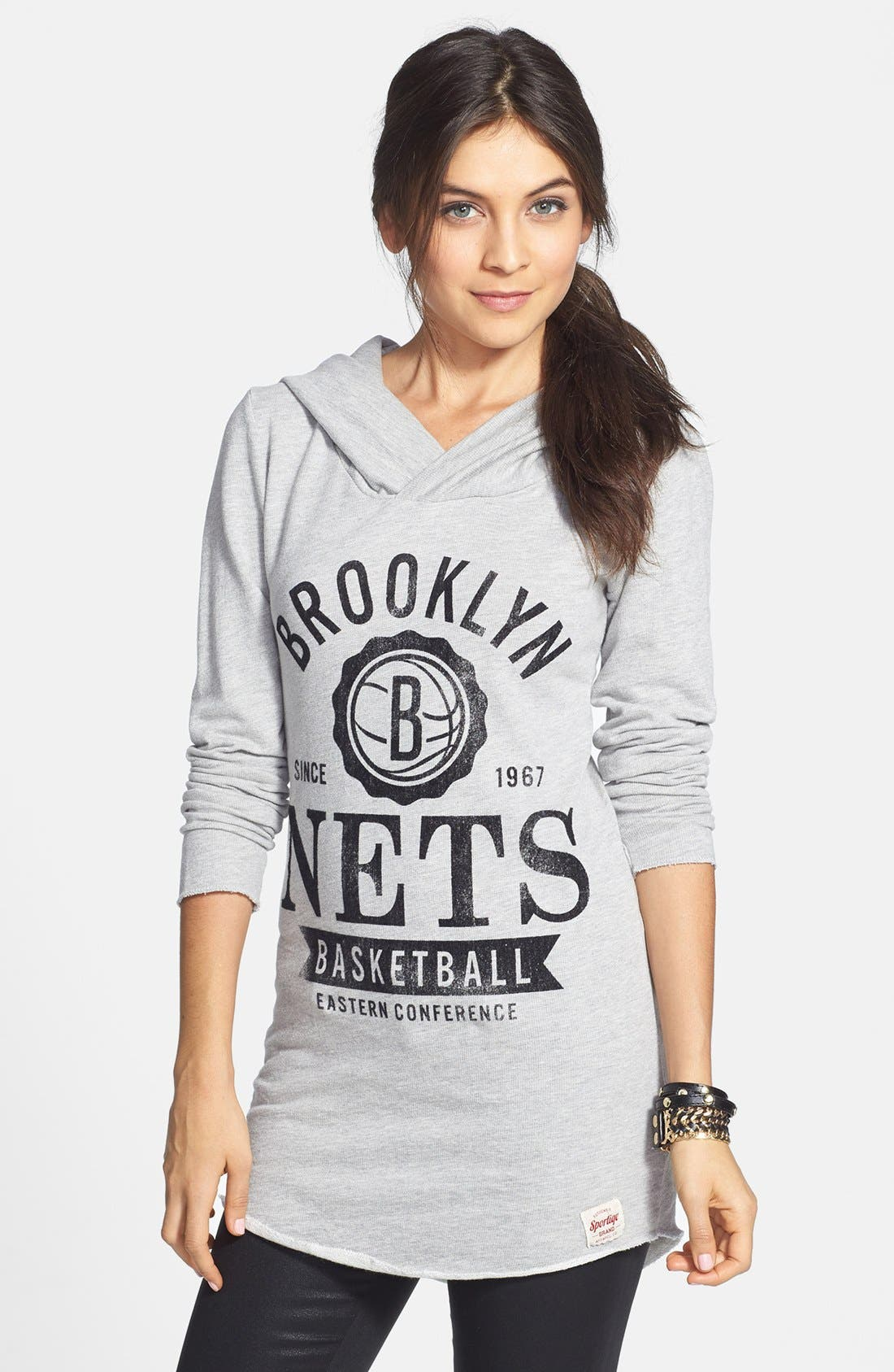 Alternate Image 1 Selected - Sportiqe 'Brooklyn Nets' Fitted Hoodie (Juniors) (Online Only)