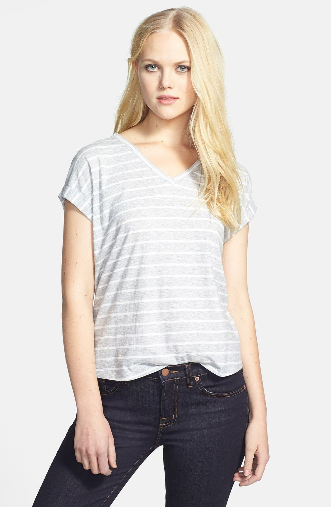 Main Image - Two by Vince Camuto 'Pinpoint Stripe' Cotton V-Neck Tee