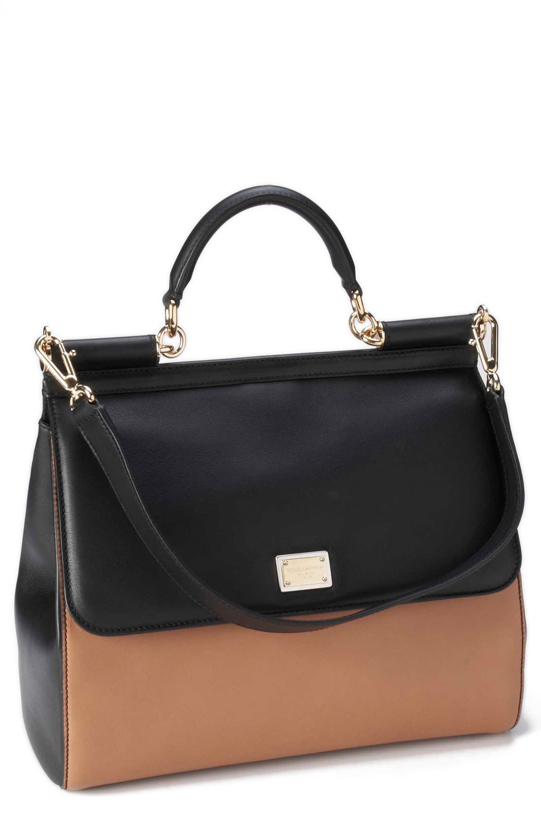 Alternate Image 1 Selected - Dolce&Gabbana 'Miss Sicily - Bi-Color' Top Handle Leather Satchel