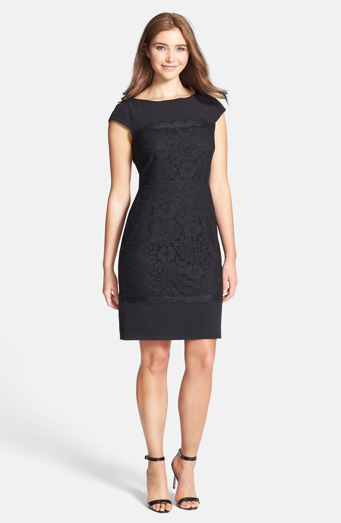 Alternate Image 2  - Adrianna Papell Scalloped Lace Sheath Dress (Regular & Petite)