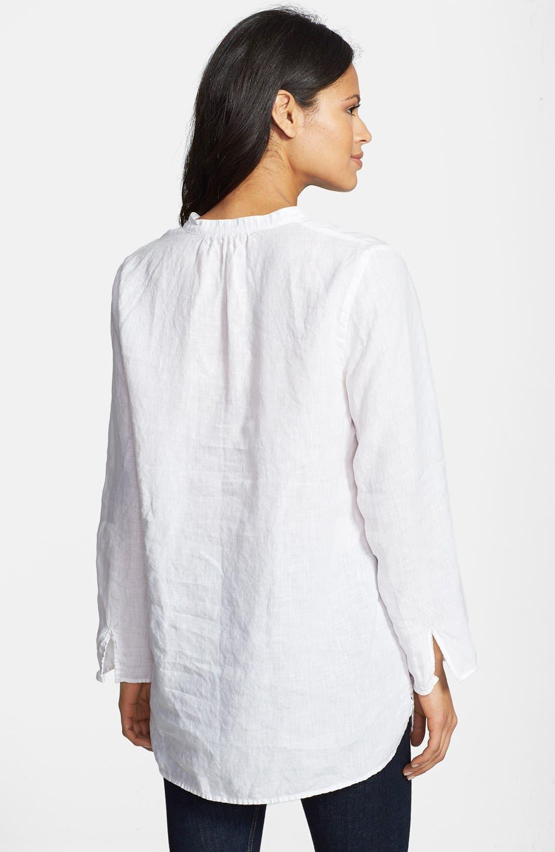 Alternate Image 2  - Eileen Fisher Mandarin Collar Organic Linen Tunic (Regular & Petite)