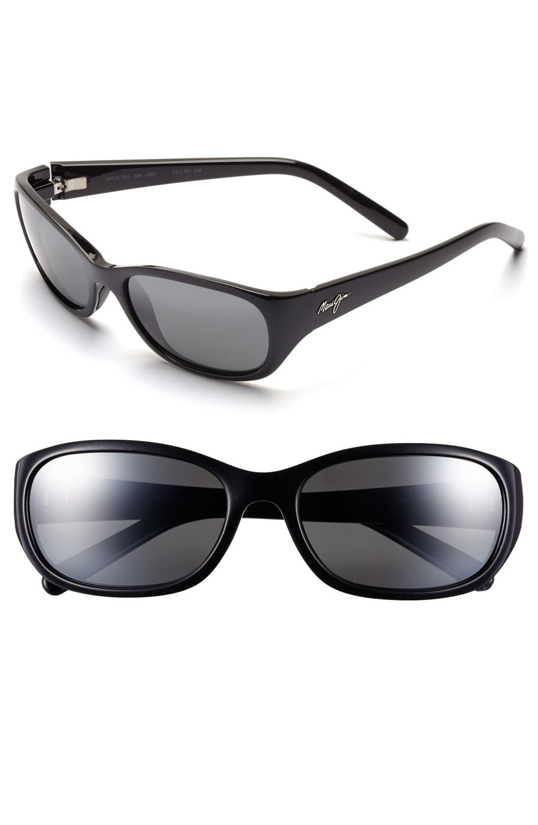 Kuiaha Bay 55mm PolarizedPlus<sup>®</sup> Sport Sunglasses,                         Main,                         color, Midnight Black