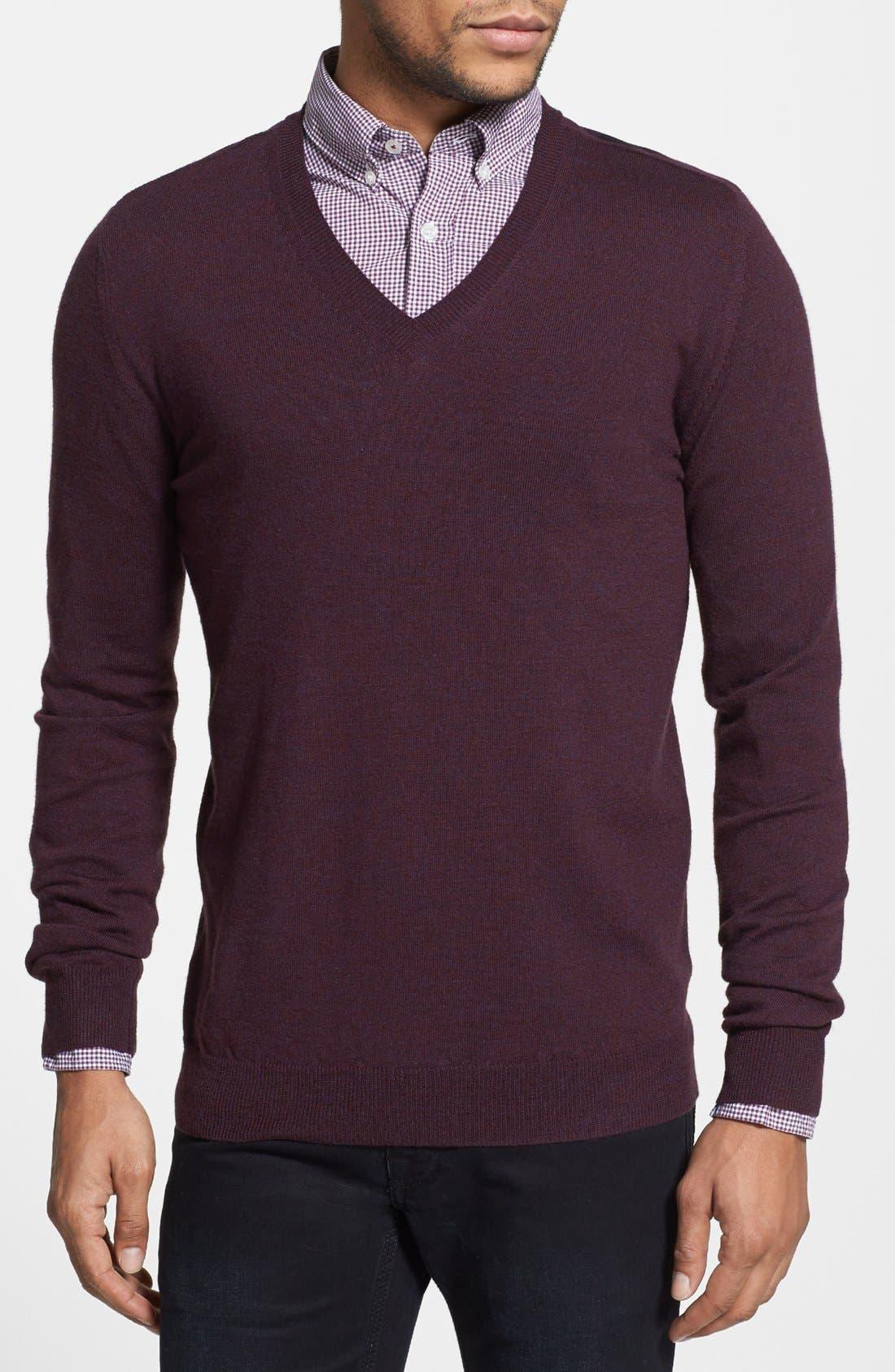 Main Image - Burberry Brit Trim Fit Check Shoulder V-Neck Merino Wool Sweater