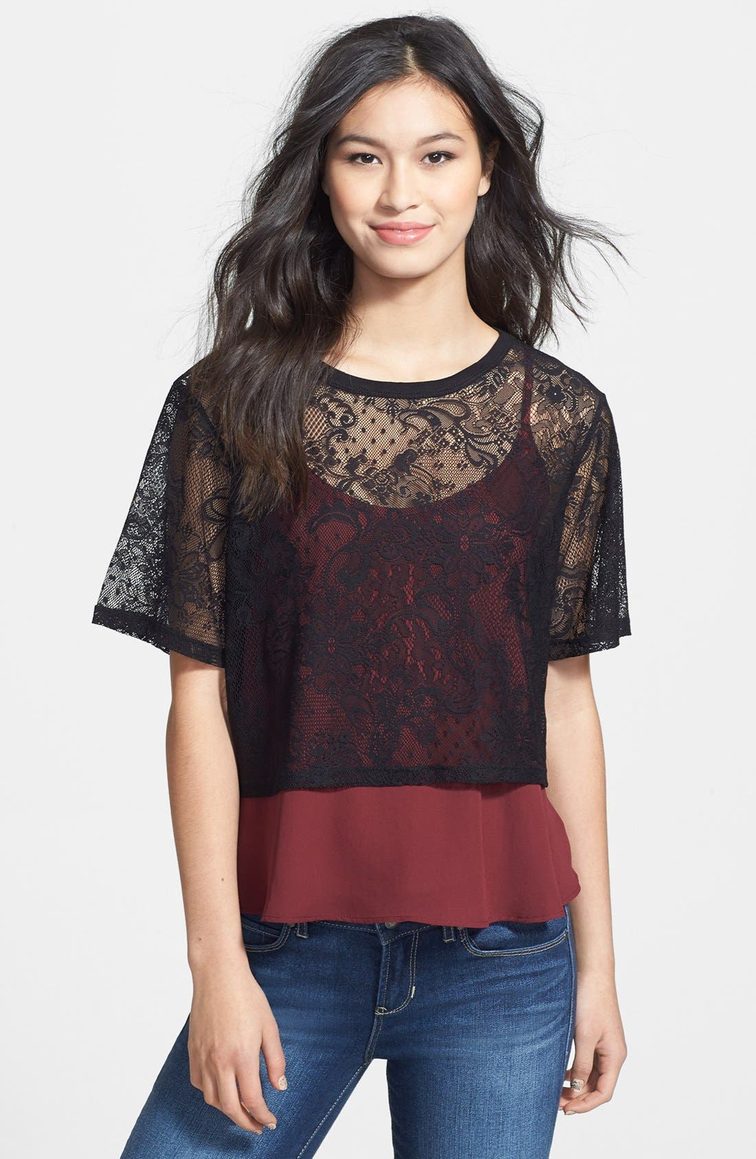 Alternate Image 1 Selected - Frenchi® Lace Crop Tee (Juniors)