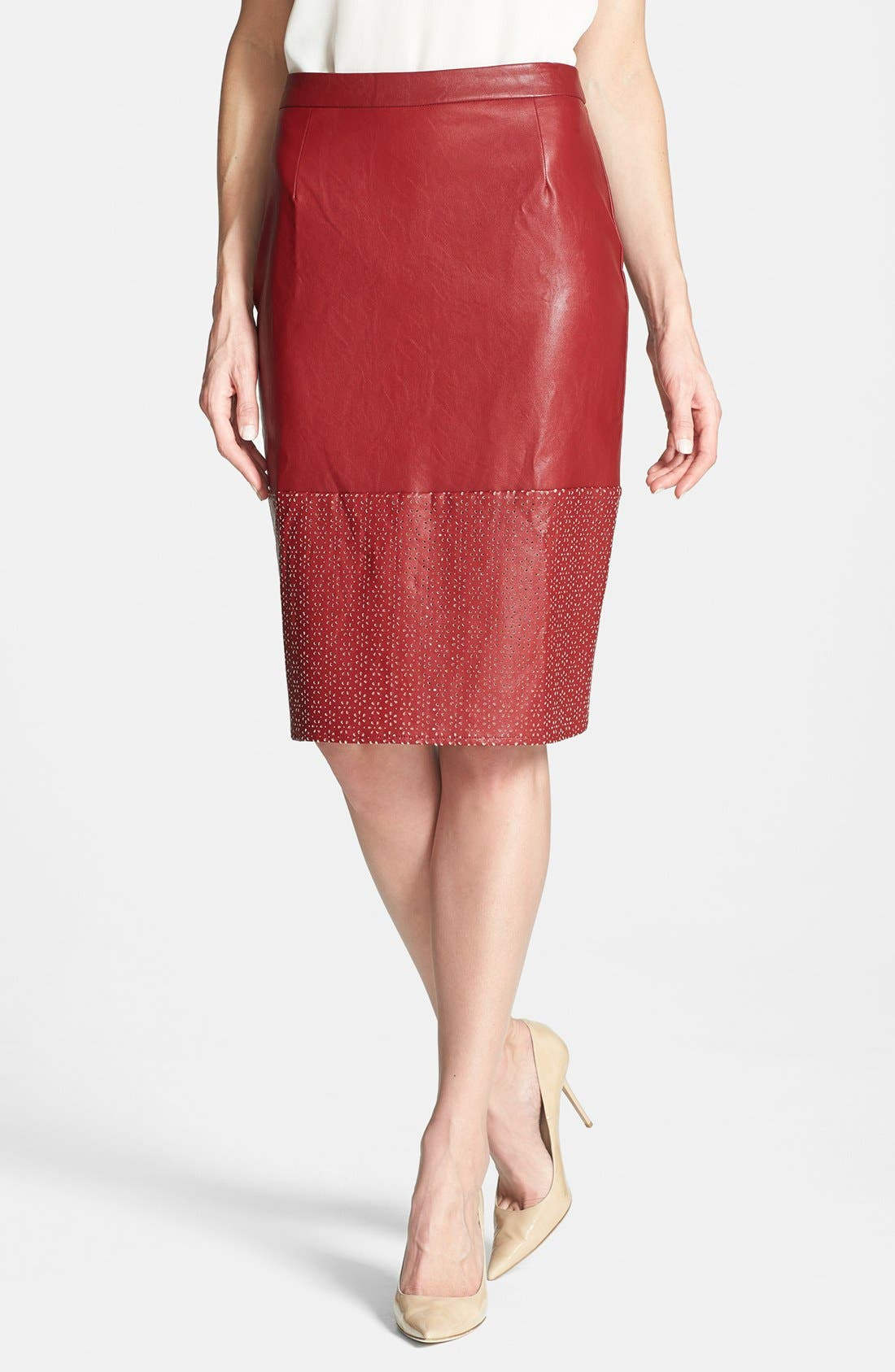 Main Image - Sunday in Brooklyn Perforated Faux Leather Skirt