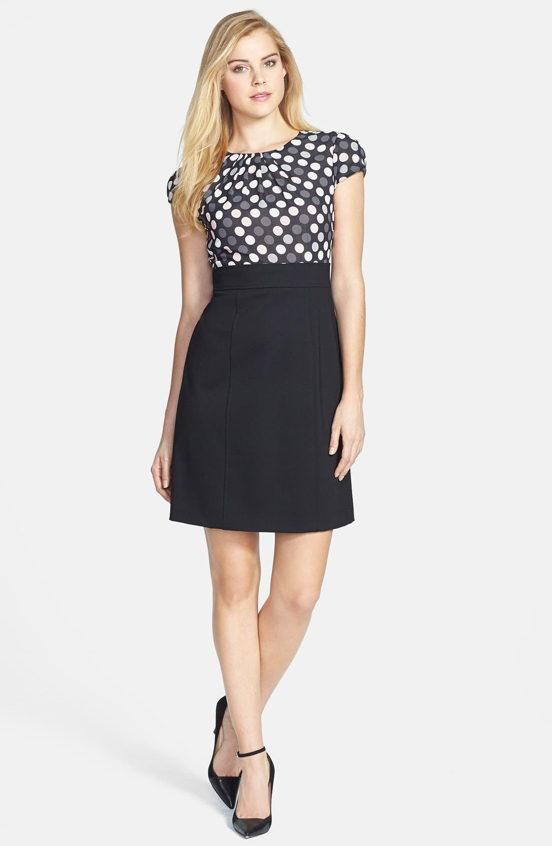 Main Image - Tahari Polka Dot Chiffon & Crepe Sheath Dress