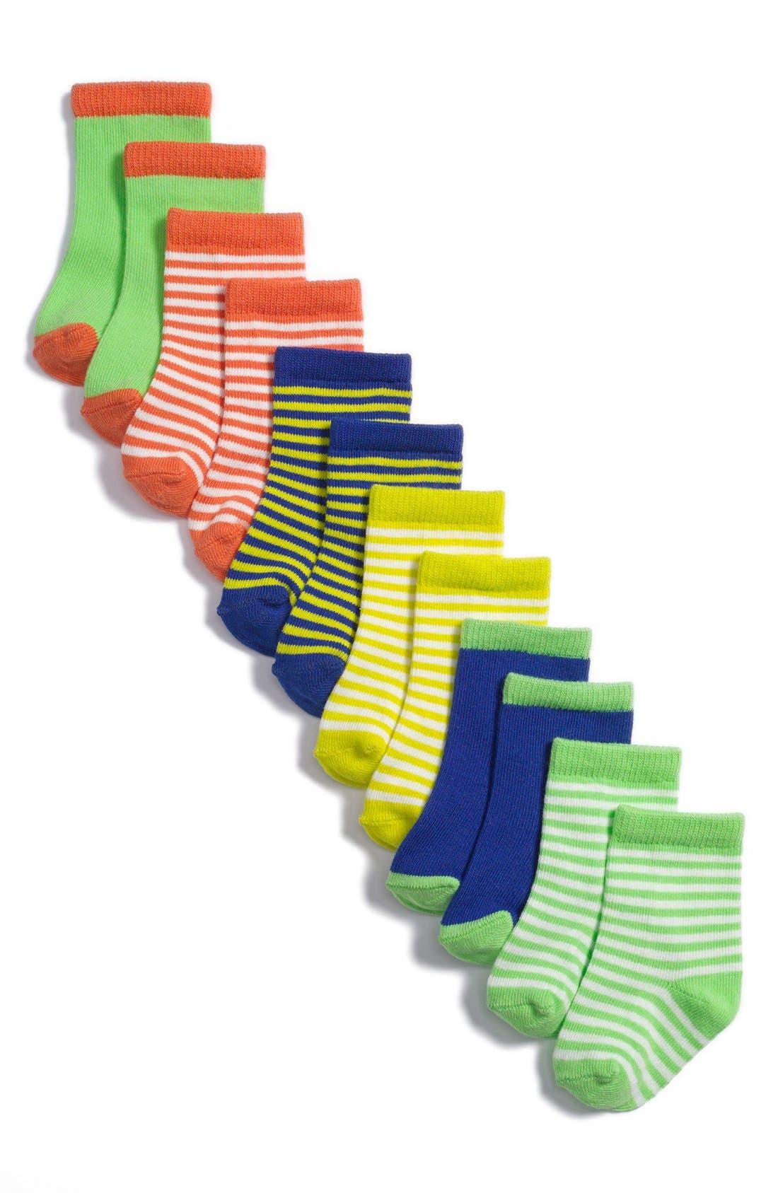 Alternate Image 1 Selected - Stem Baby Patterned Socks (6-Pack) (Baby Boys)