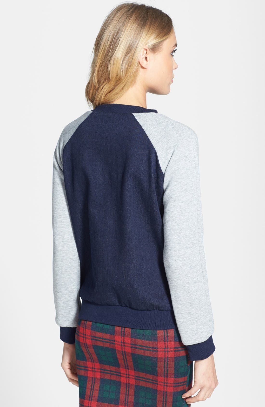 Alternate Image 2  - Topshop Moto Raglan Sleeve Denim Sweatshirt