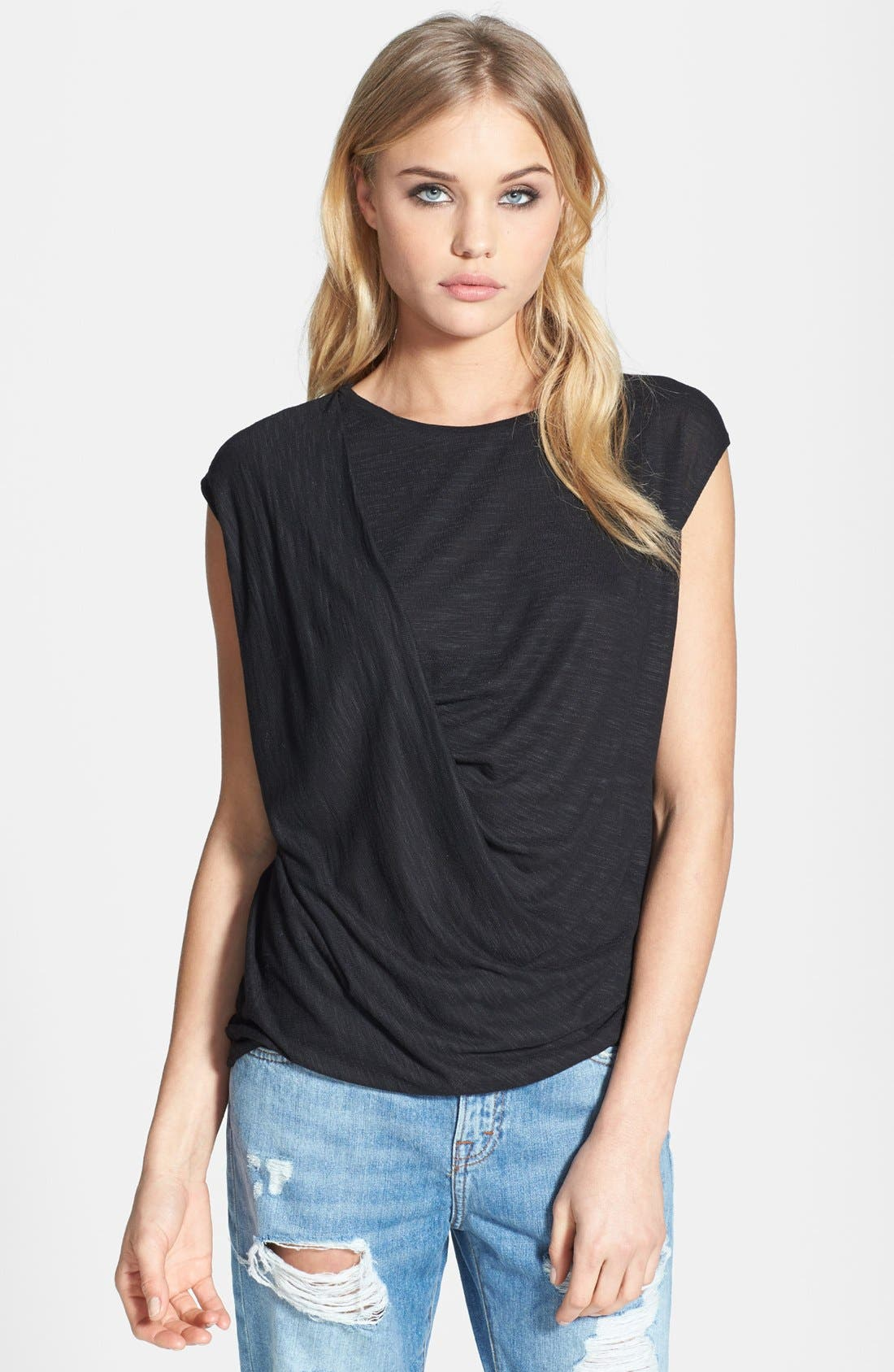 Main Image - Topshop Draped Shoulder Jersey Top