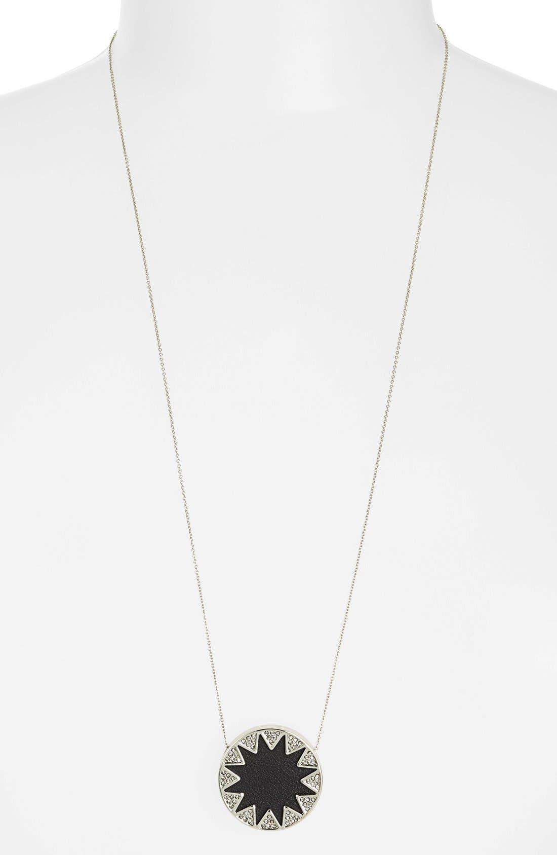 Main Image - House of Harlow 1960 Pavé Leather Sunburst Pendant Necklace