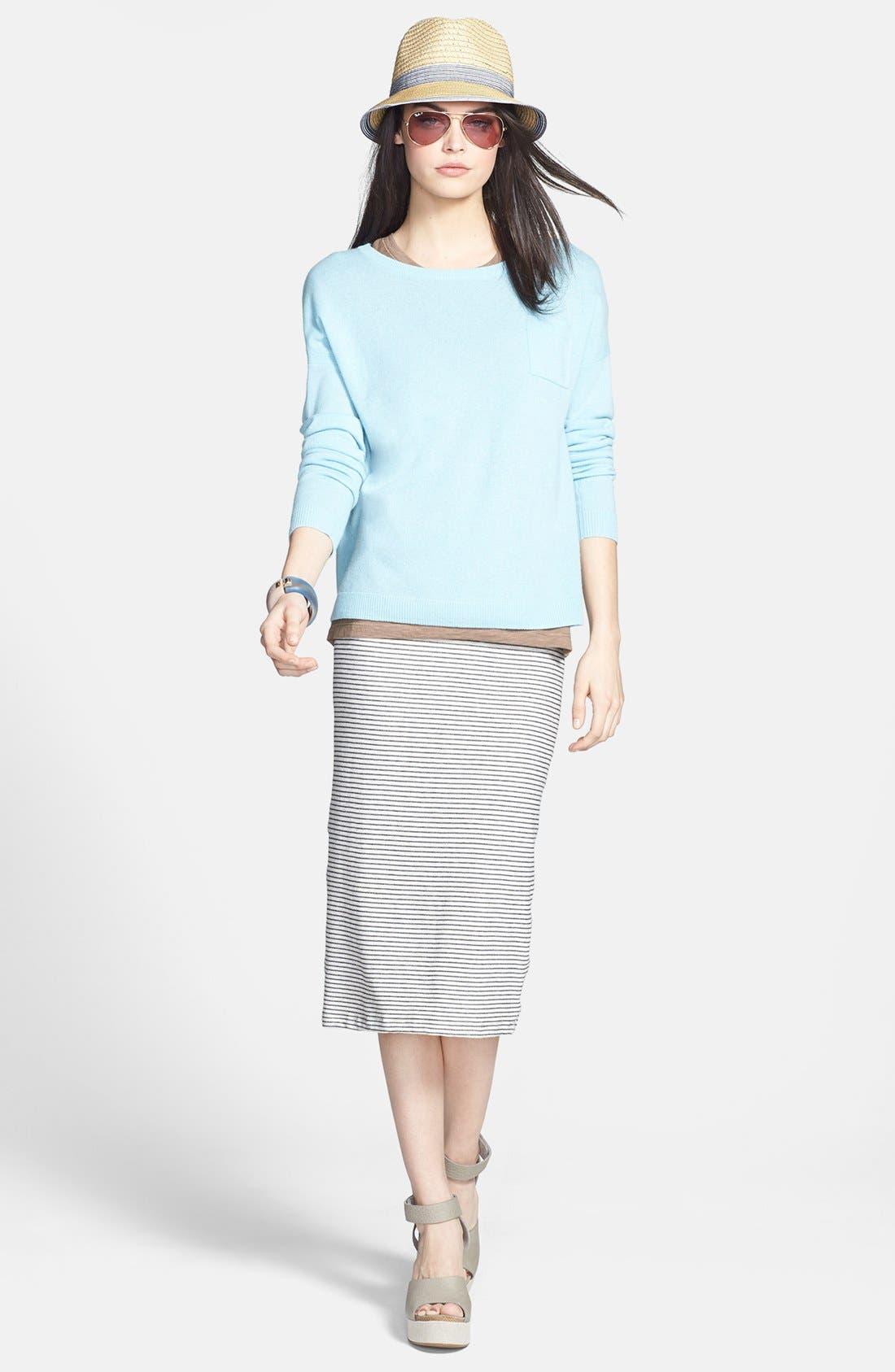 Alternate Image 4  - Halogen® Lightweight Cashmere Crewneck Sweater with Pocket