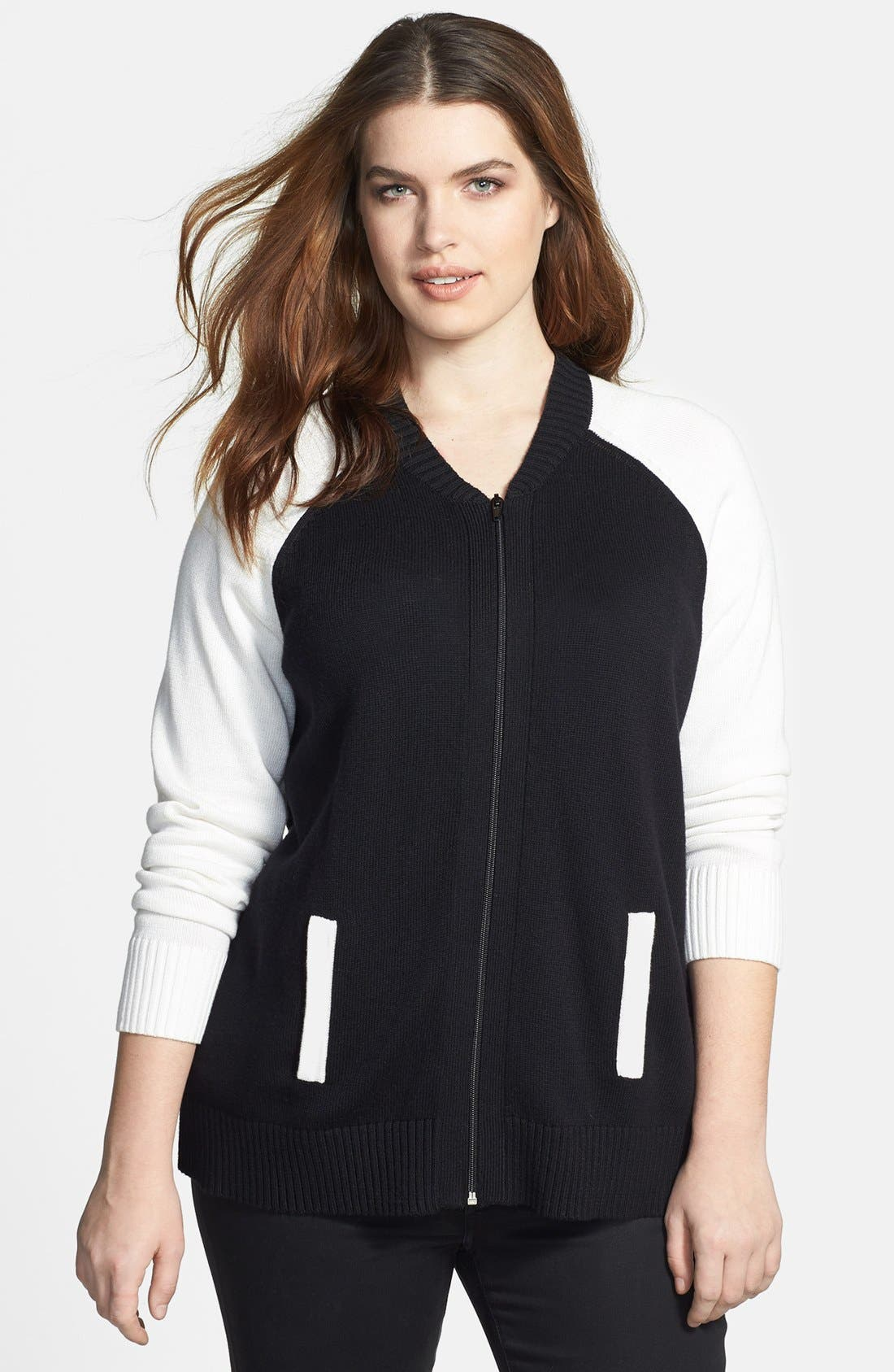 Main Image - Sejour Knit Sweater Bomber Jacket (Plus Size)