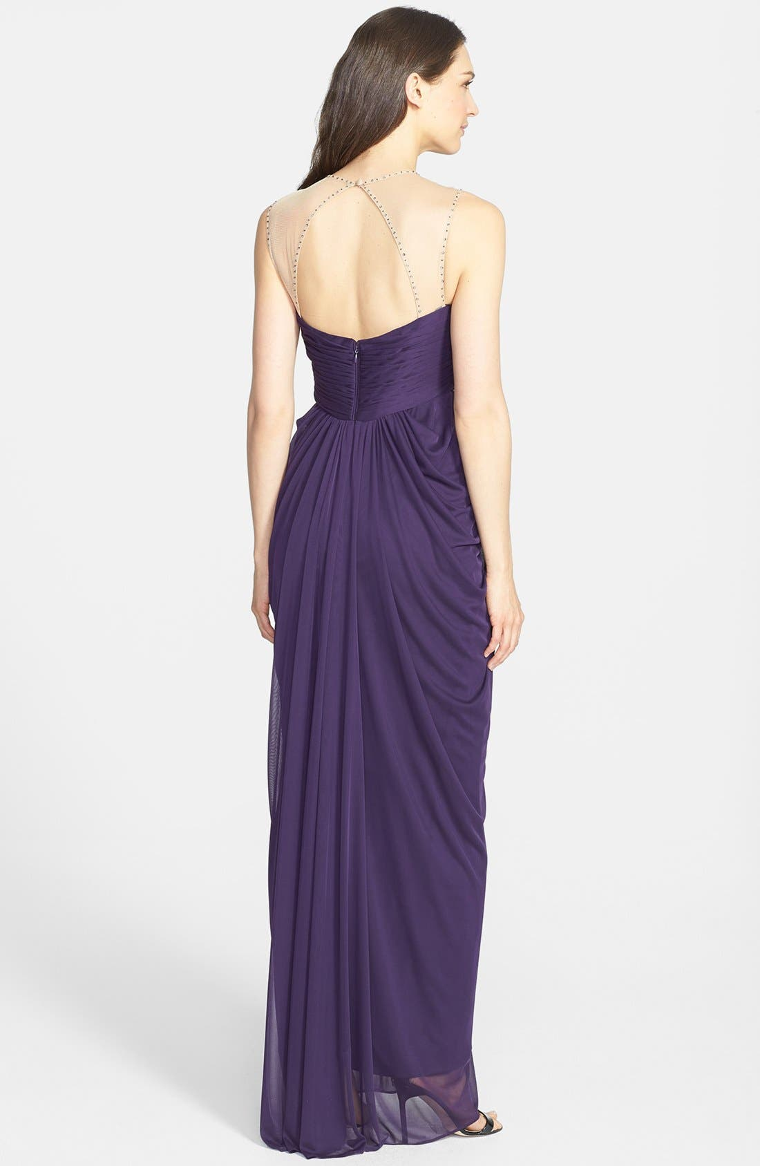 Alternate Image 2  - Adrianna Papell Embellished & Draped Mesh Gown (Regular & Petite)