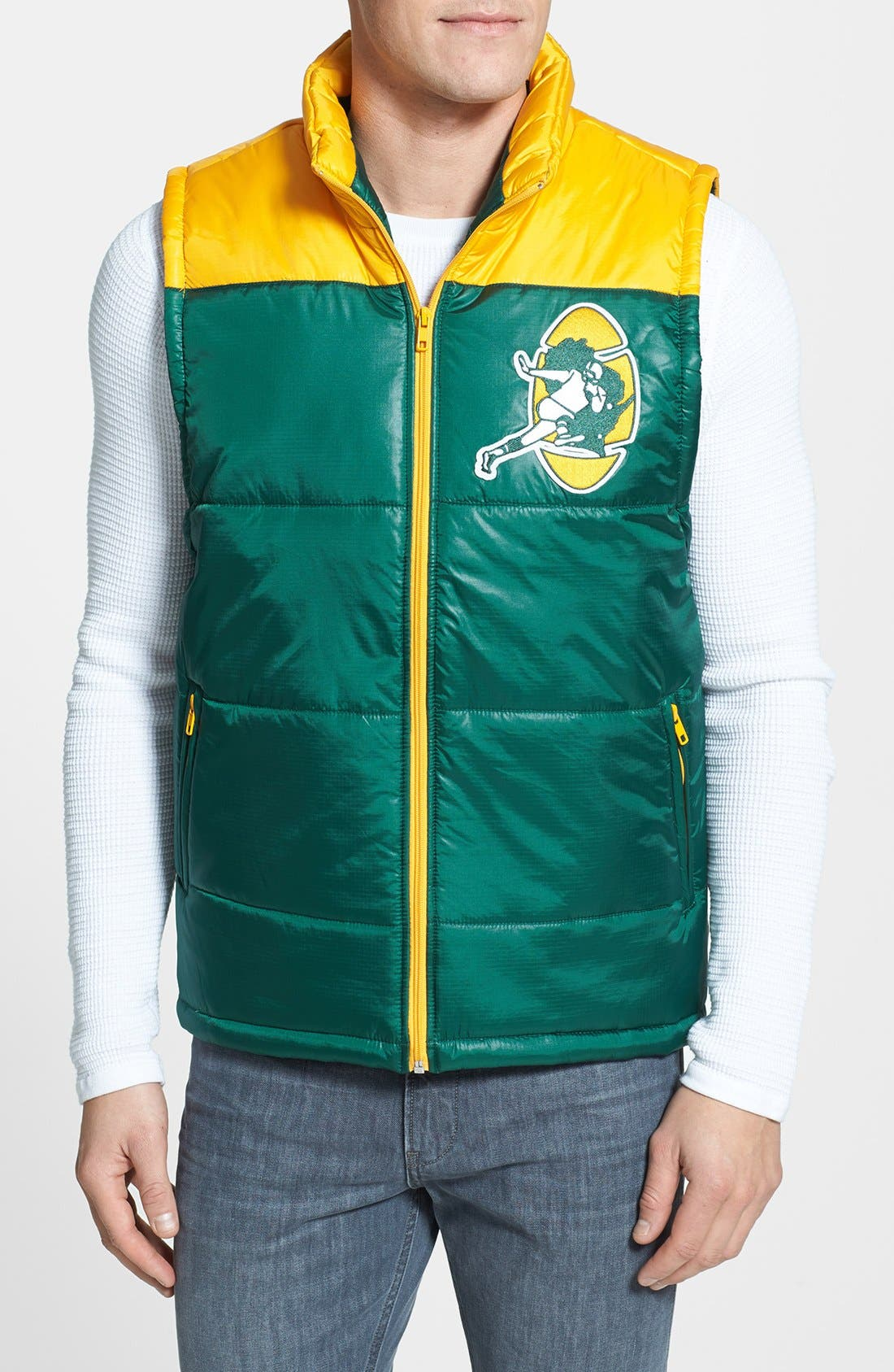 Main Image - Mitchell & Ness 'Winning Team - Green Bay Packers' Quilted Vest