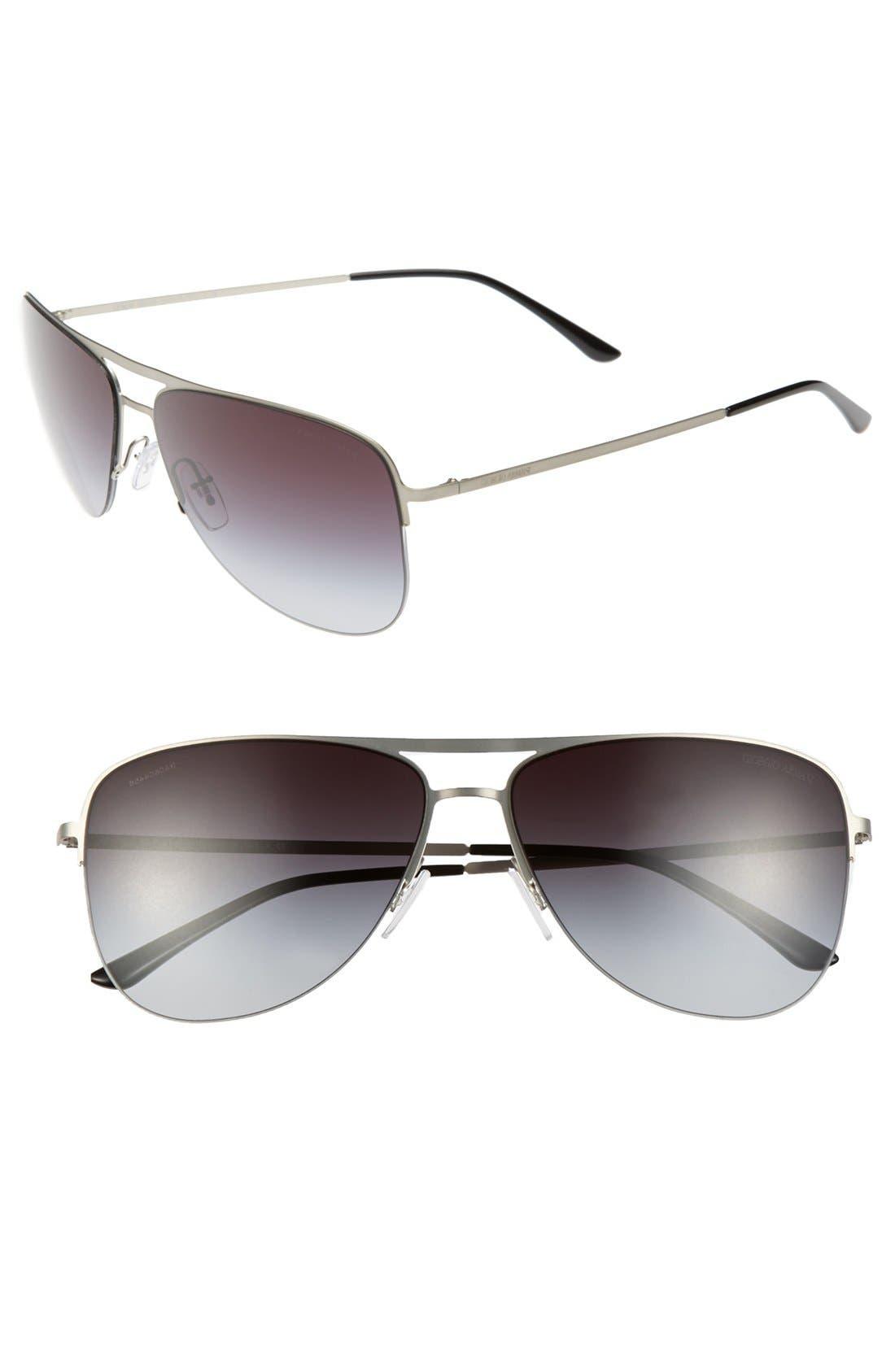 Main Image - Giorgio Armani 60mm Aviator Sunglasses