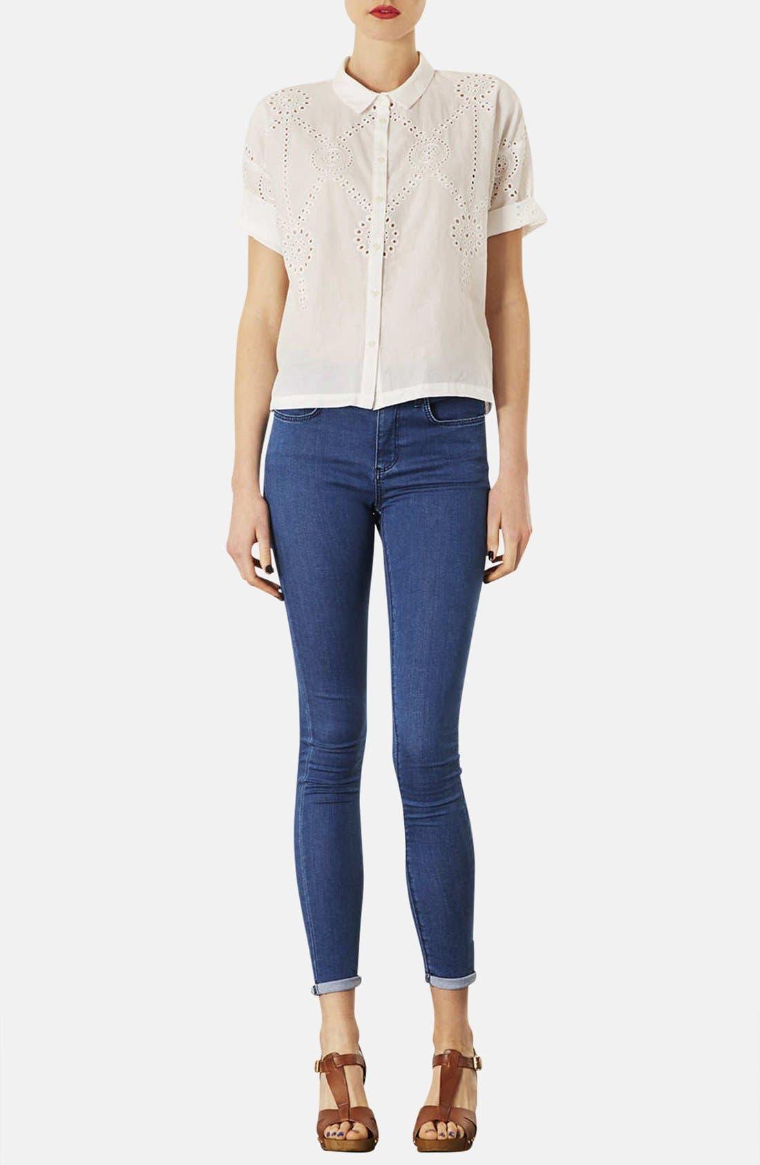 Alternate Image 4  - Topshop Moto 'Leigh' Skinny Jeans (Blue) (Regular & Short)