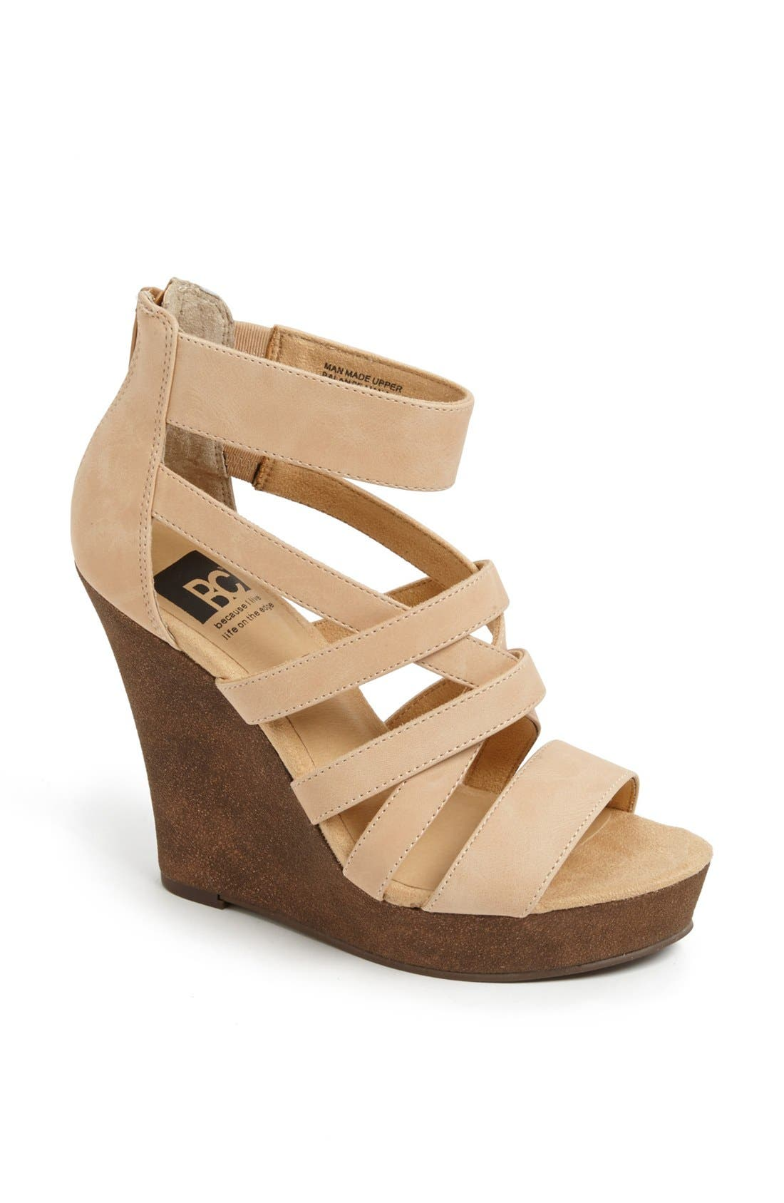 'Tell You What' Wedge Sandal,                             Main thumbnail 1, color,                             Nude
