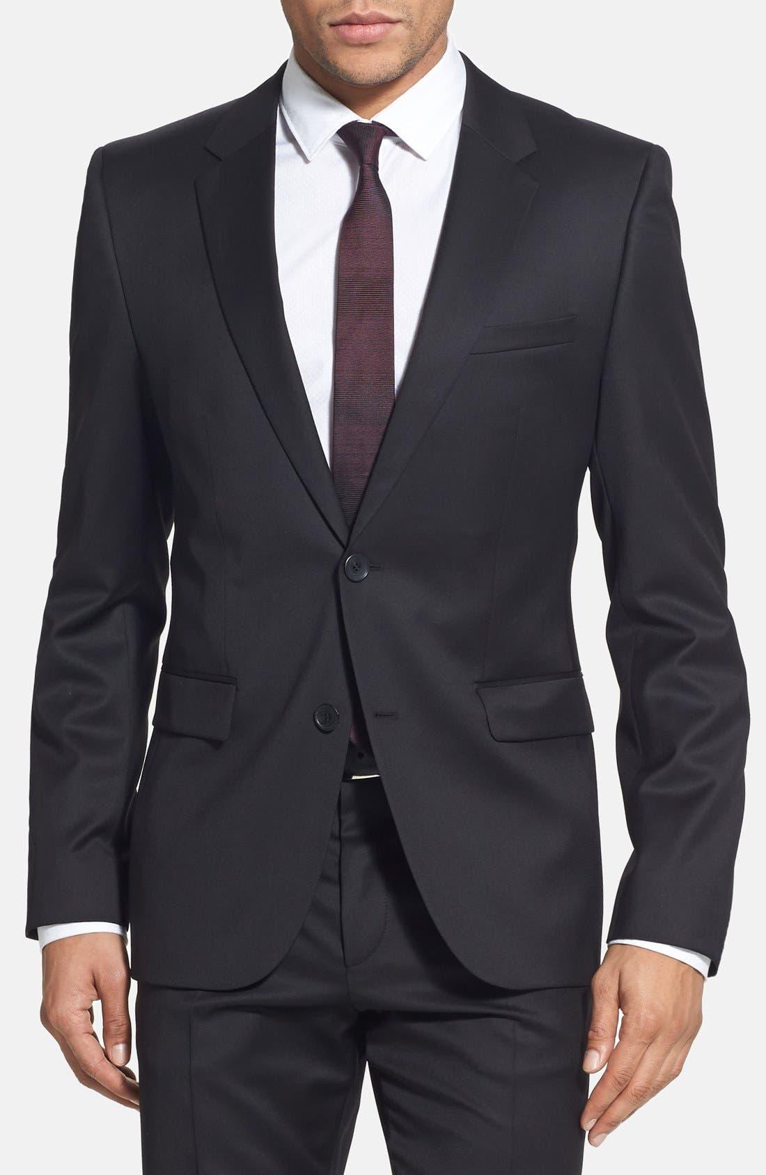 Alternate Image 3  - HUGO 'Aeron/Hamen - Super Black' Extra Trim Fit Wool Suit