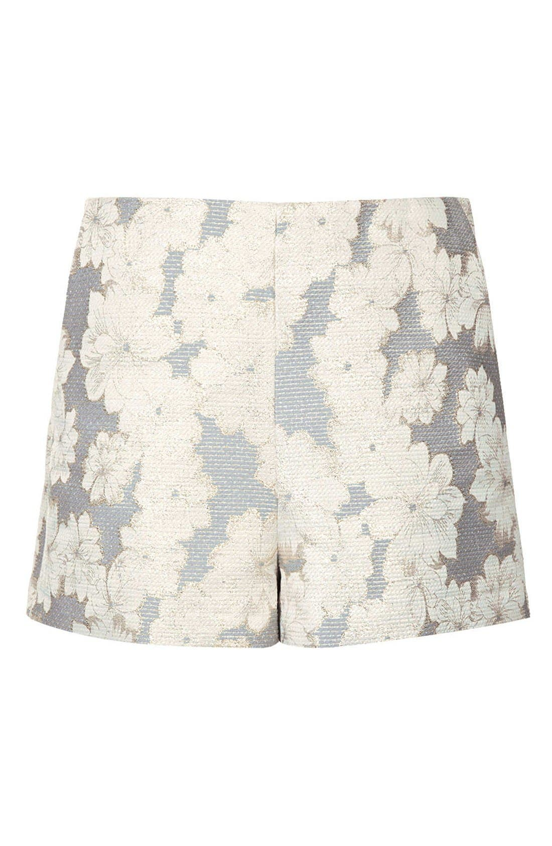 Alternate Image 3  - Topshop Metallic Floral Jacquard High Rise Shorts