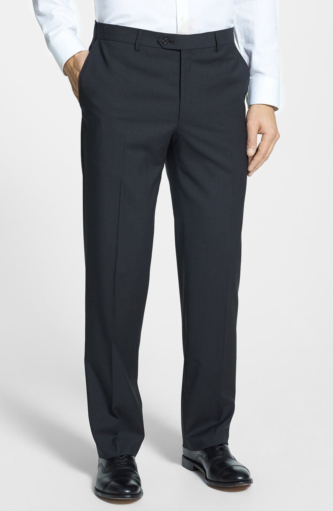 Main Image - Pal Zileri 'Zignone' Flat Front Trousers