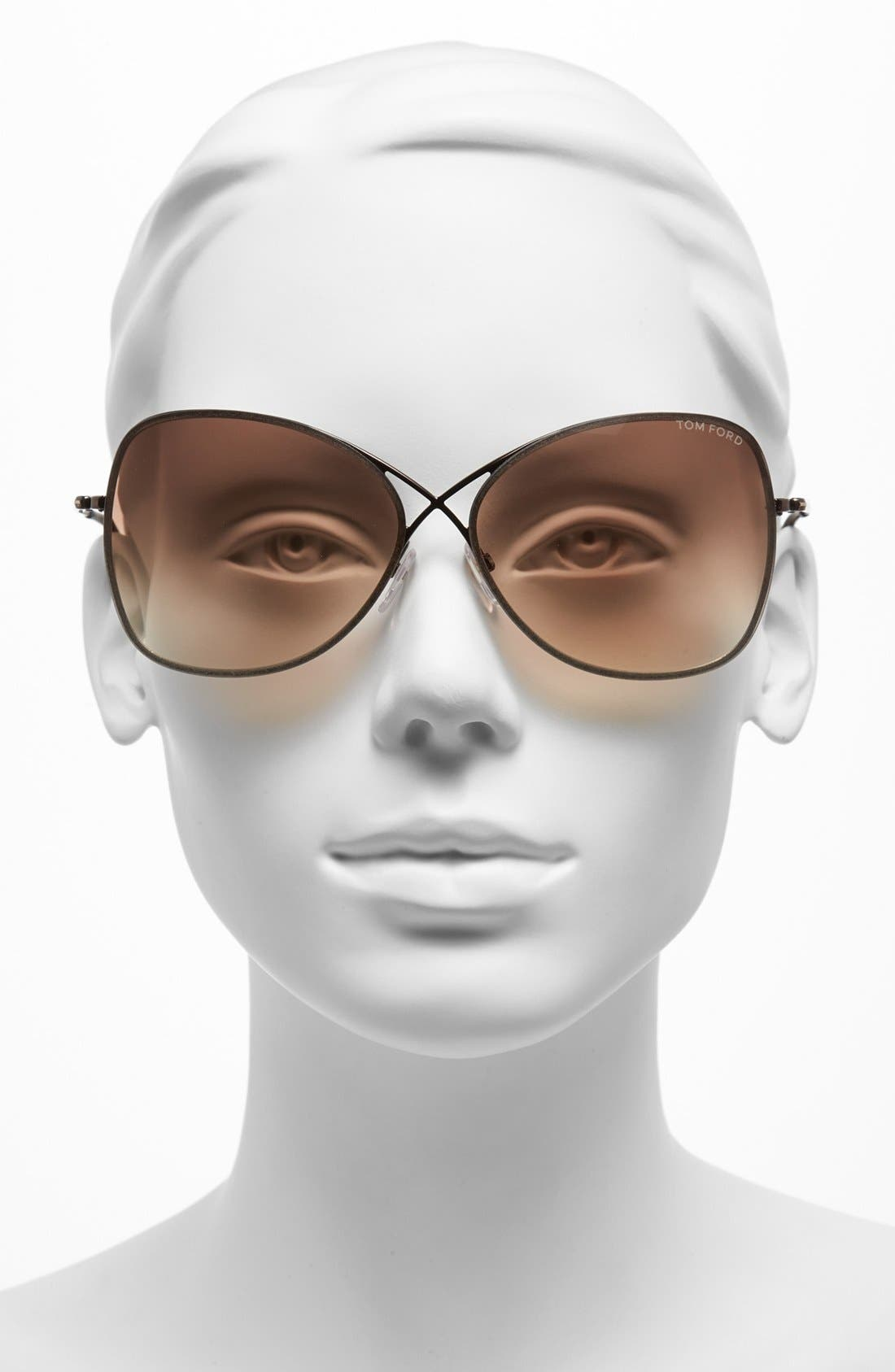 'Colette' 63mm Oversized Sunglasses,                             Alternate thumbnail 2, color,                             Shiny Brown/ Brown Gradient