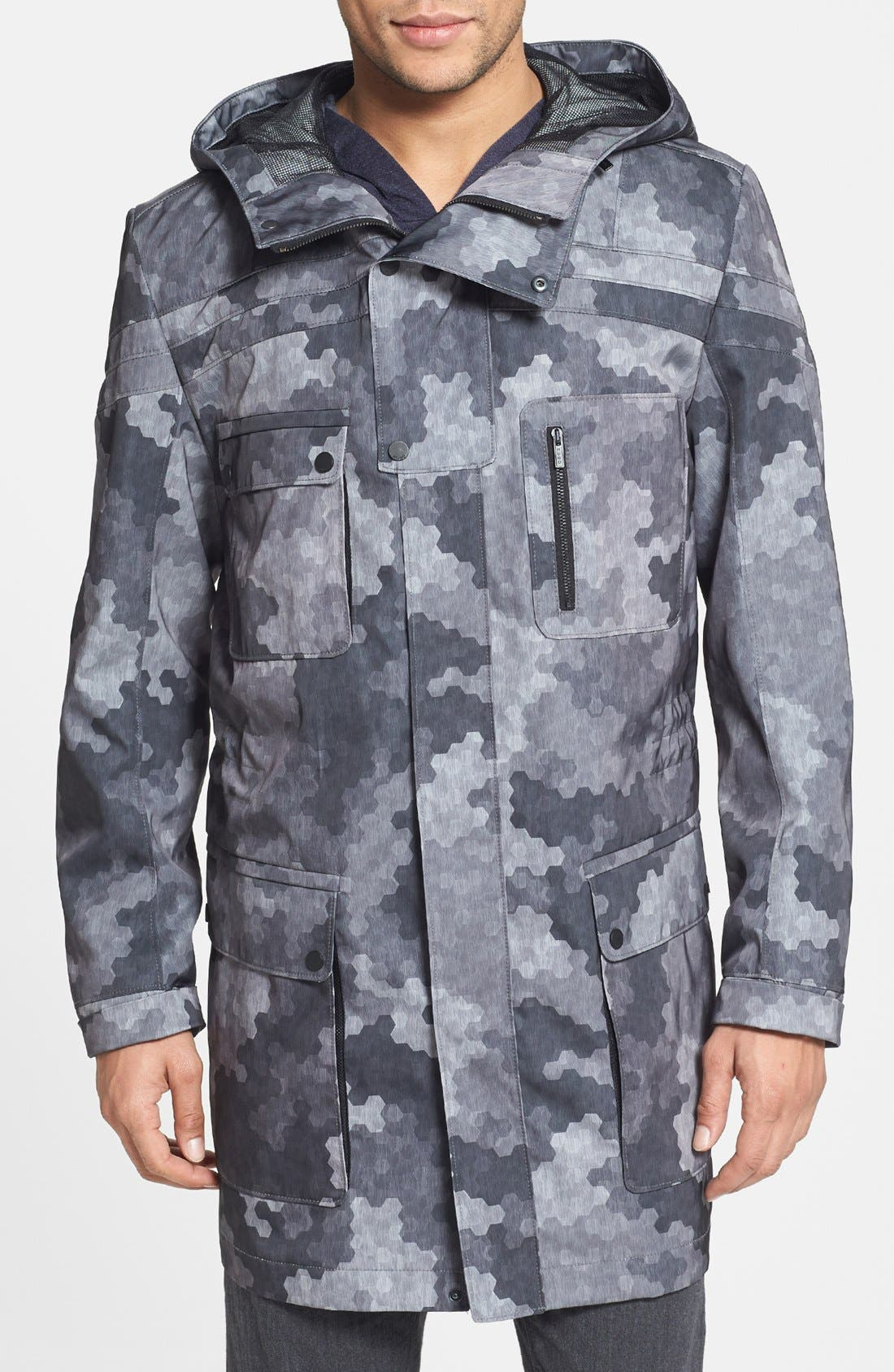HUGO 'Meliot' Hooded Camo Trench Coat,                         Main,                         color, Grey Camo