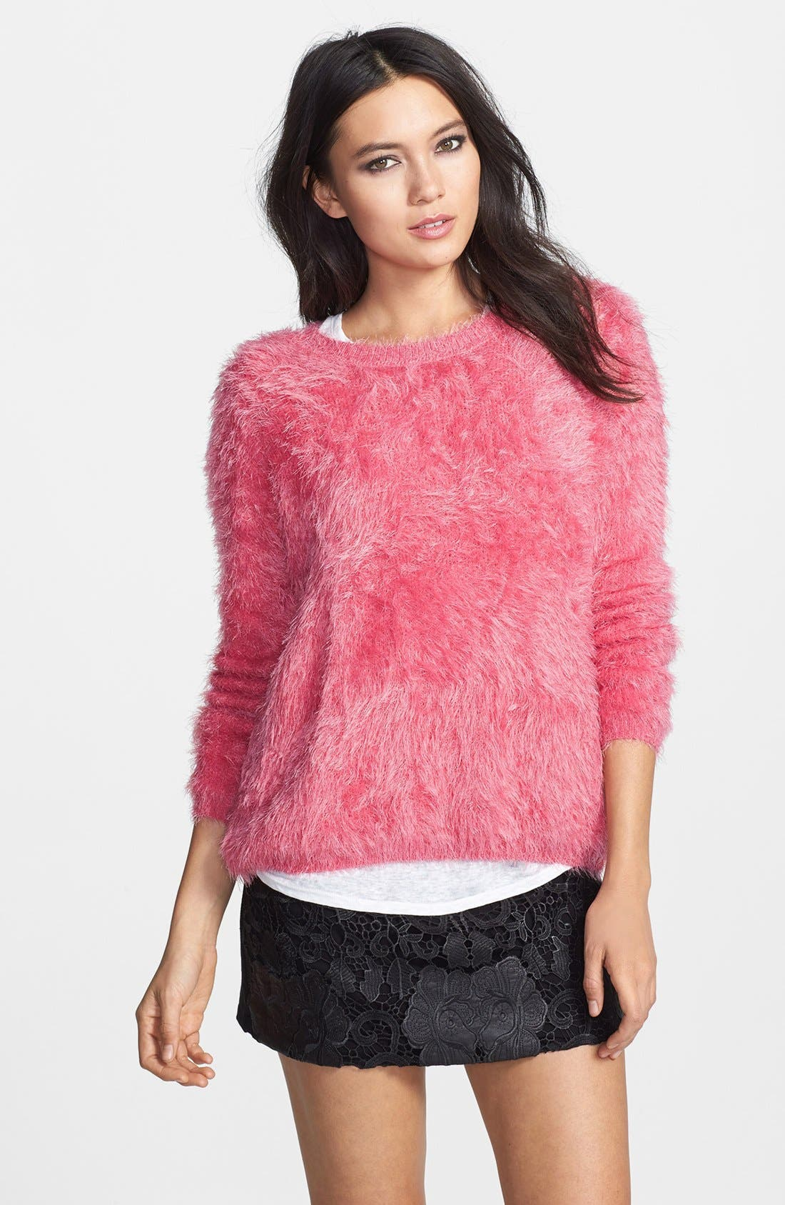 Textured Pullover,                             Main thumbnail 1, color,                             Bright Pink