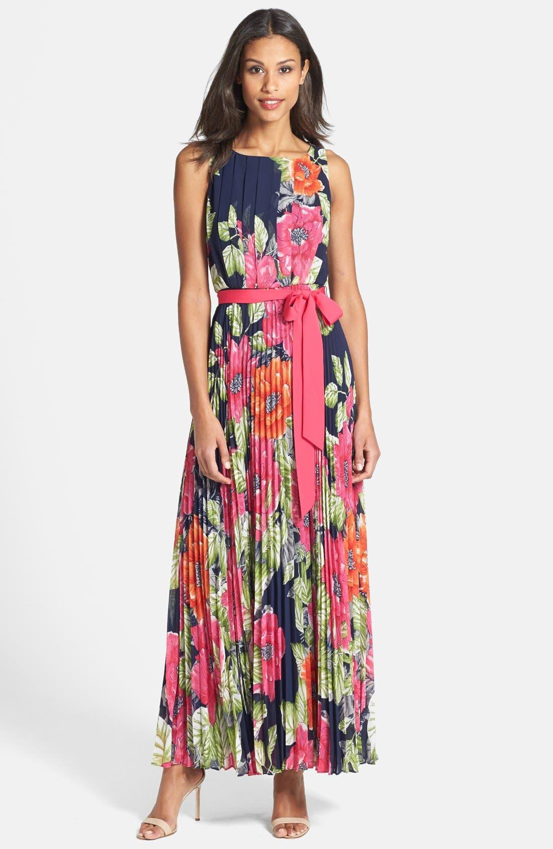 Alternate Image 1 Selected - Eliza J Pleated Chiffon Maxi Dress