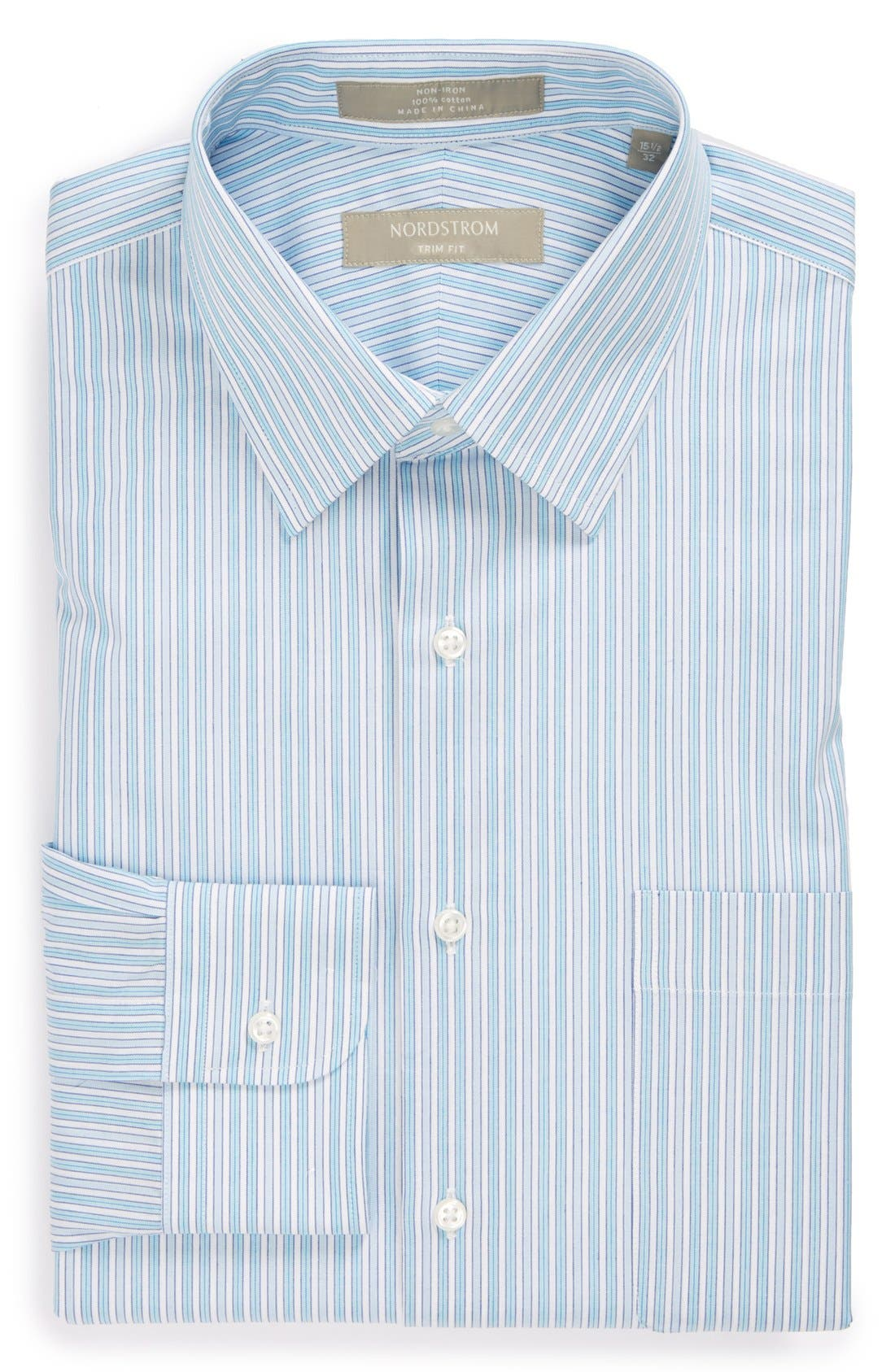 Main Image - Nordstrom Smartcare™ Wrinkle Free Trim Fit Stripe Dress Shirt
