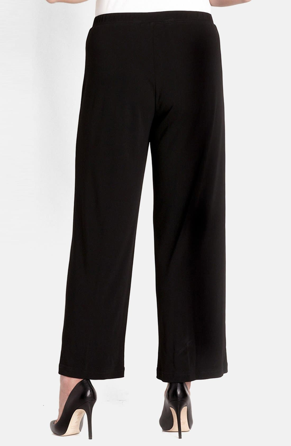 Straight Leg Matte Jersey Pants,                             Alternate thumbnail 2, color,                             Black