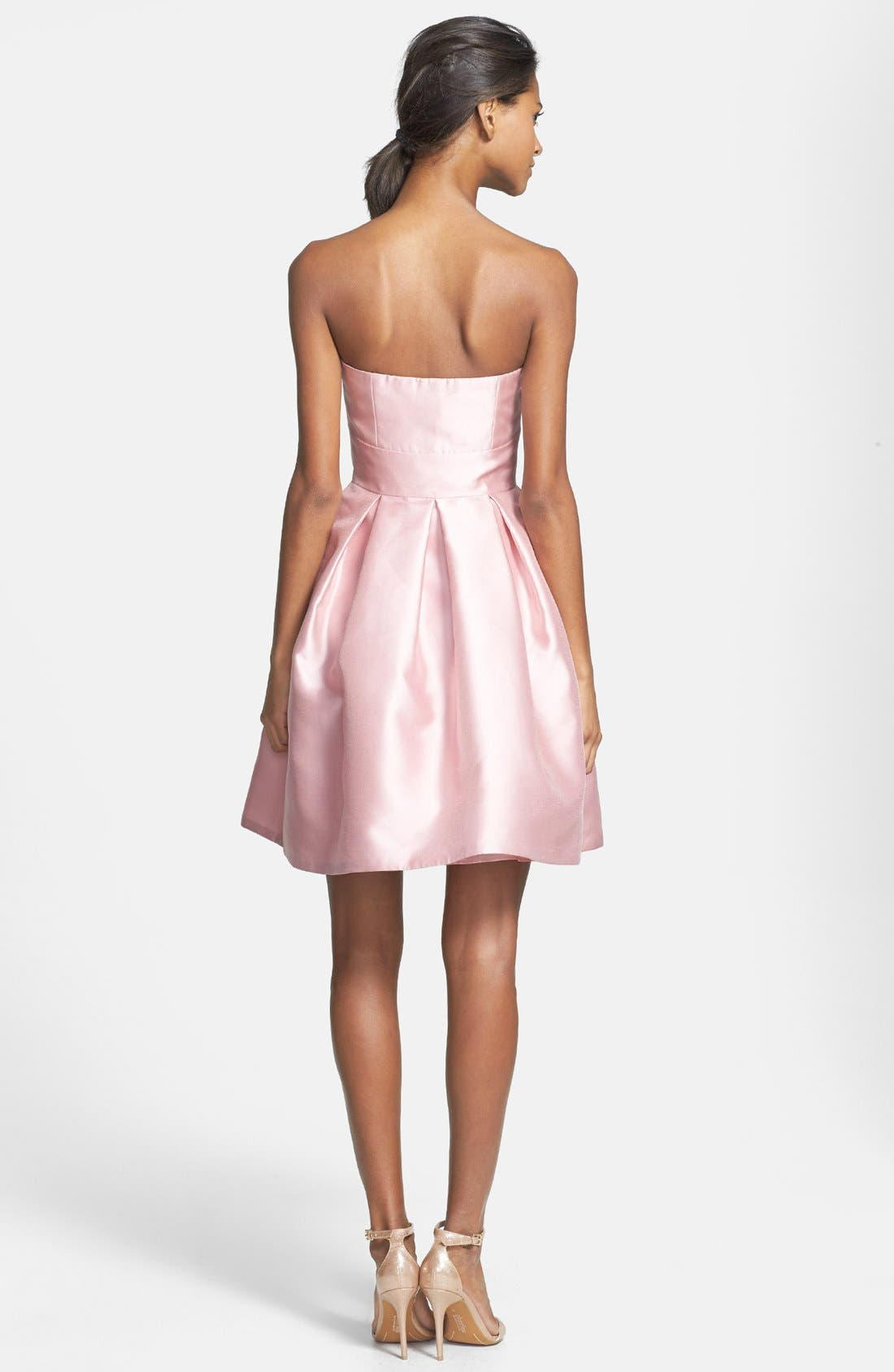 Alternate Image 3  - ML Monique Lhuillier Bridesmaids Strapless Pleated Fit & Flare Dress