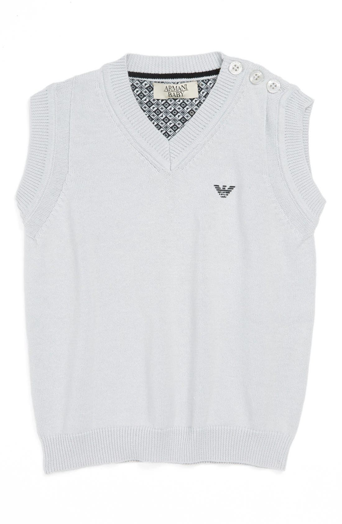 Alternate Image 1 Selected - Armani Junior Cotton Sweater Vest (Baby Boys)