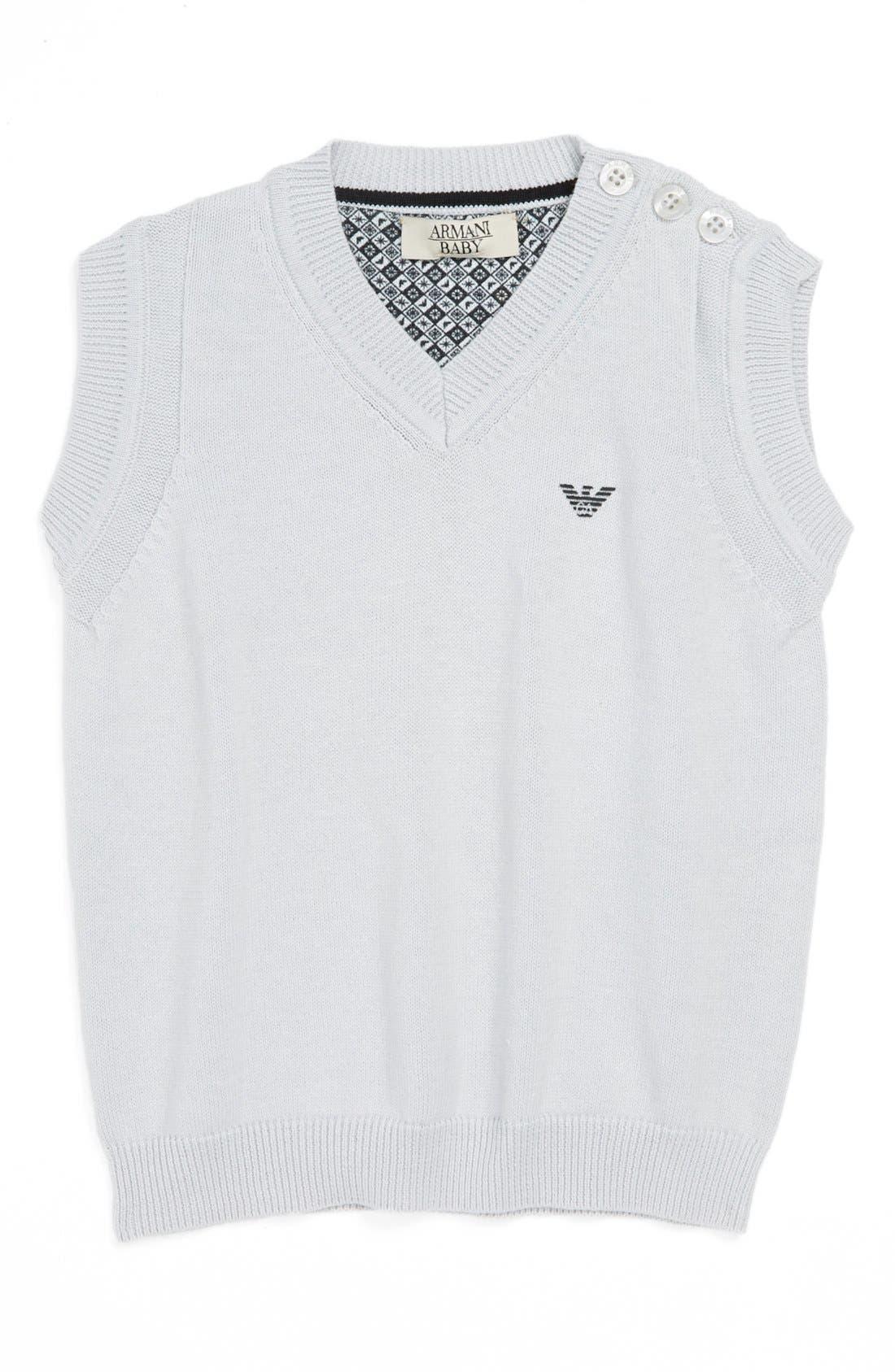 Main Image - Armani Junior Cotton Sweater Vest (Baby Boys)