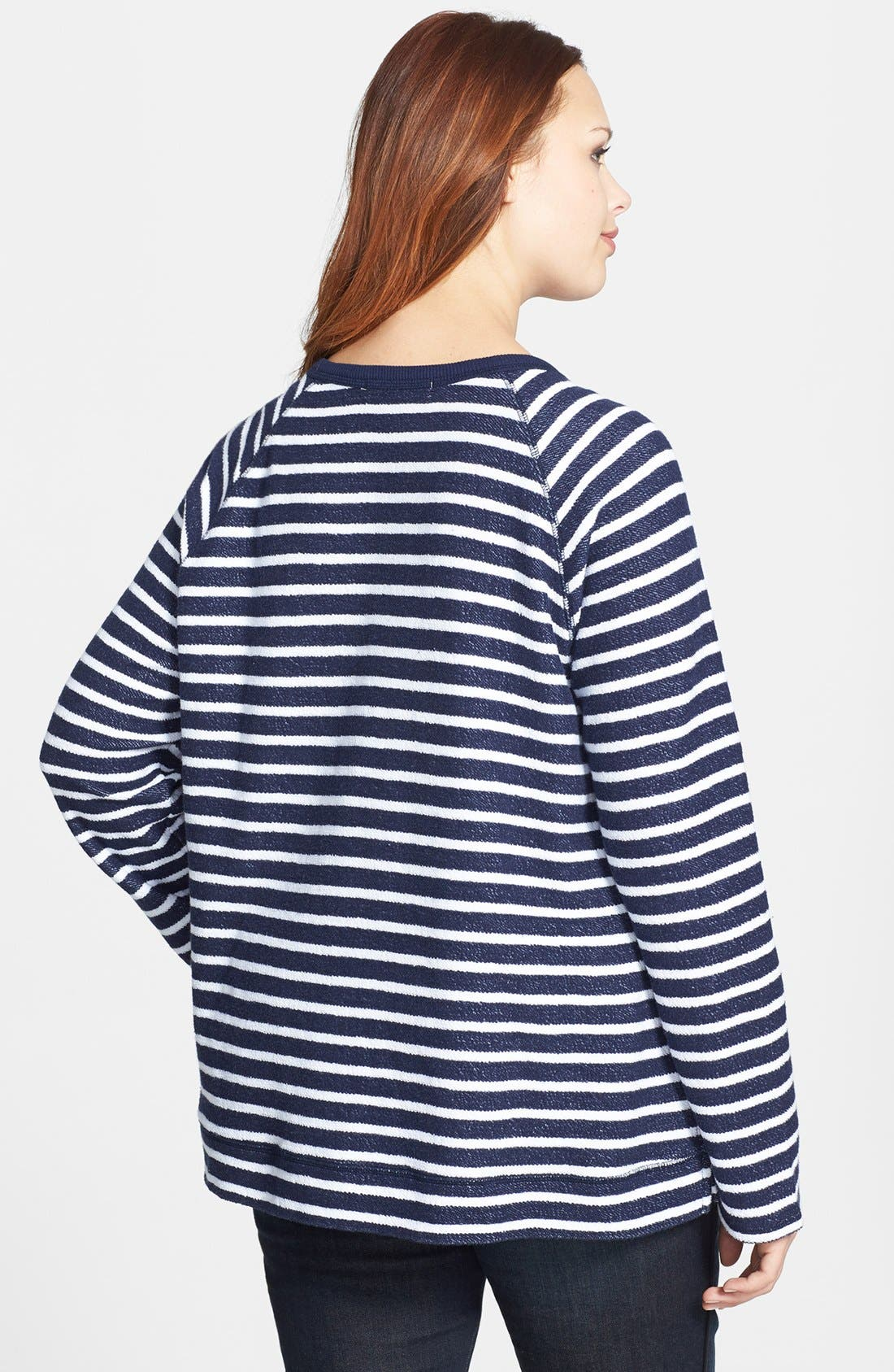 Alternate Image 2  - Sejour Nautical Stripe Terry Top (Plus Size)