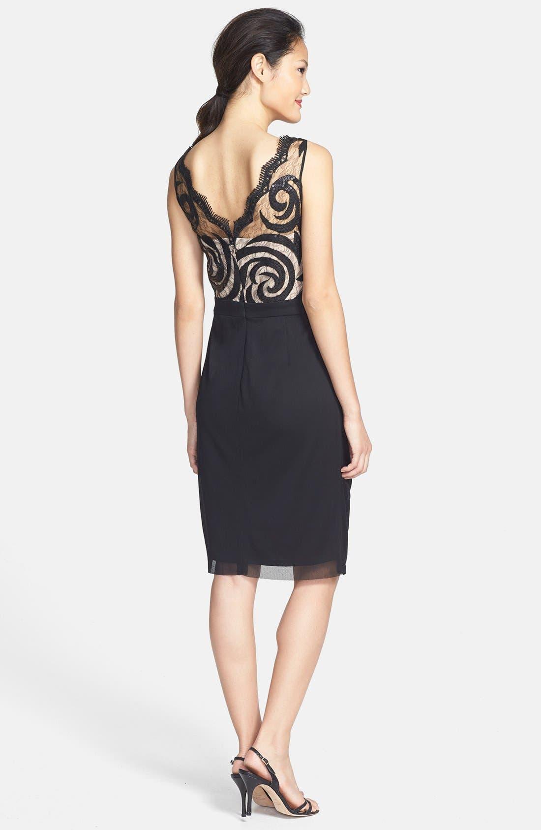 Alternate Image 2  - Maggy London Embellished Draped Mesh Dress (Petite)