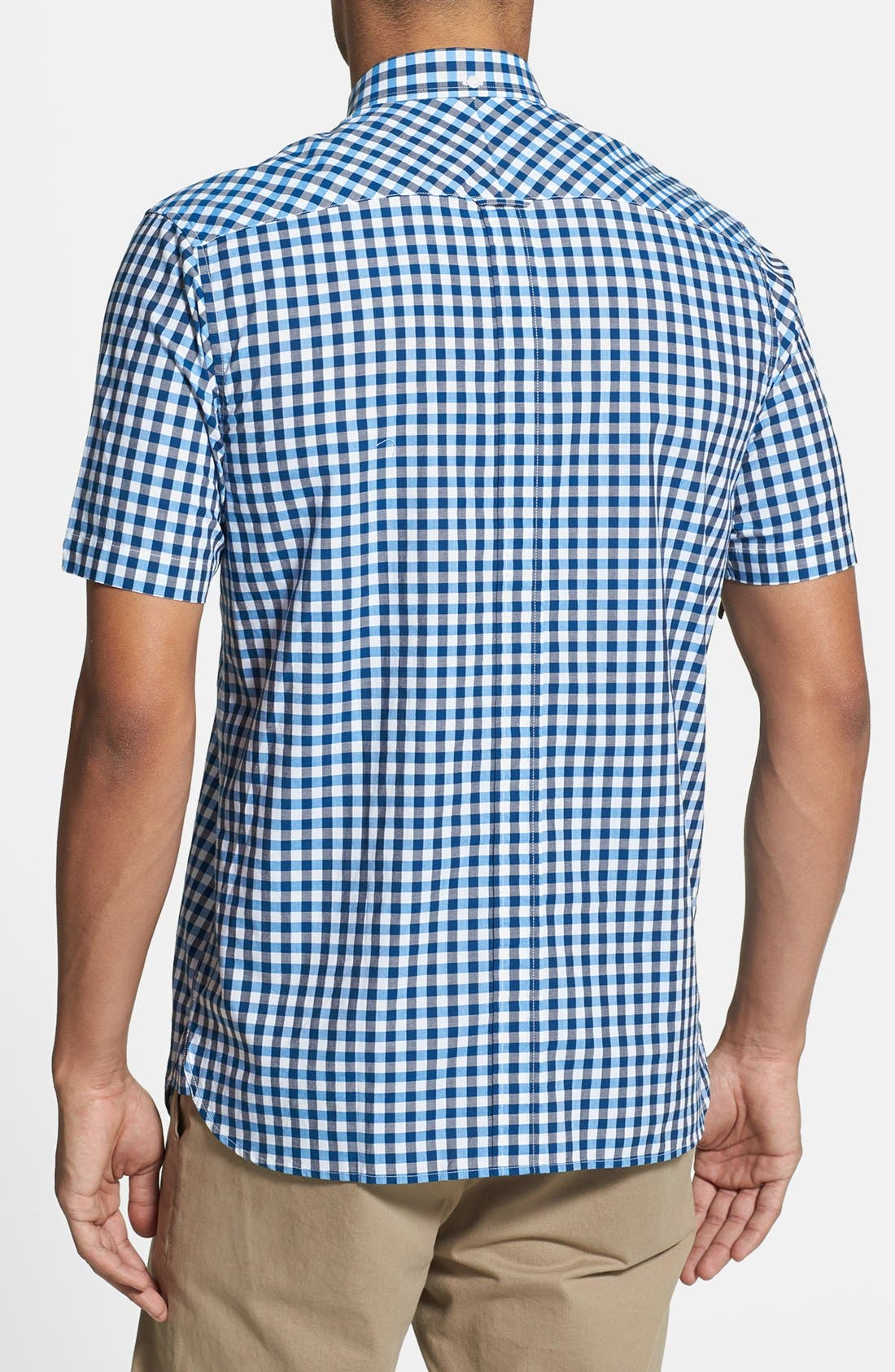 Alternate Image 2  - Fred Perry Tricolor Gingham Short Sleeve Sport Shirt
