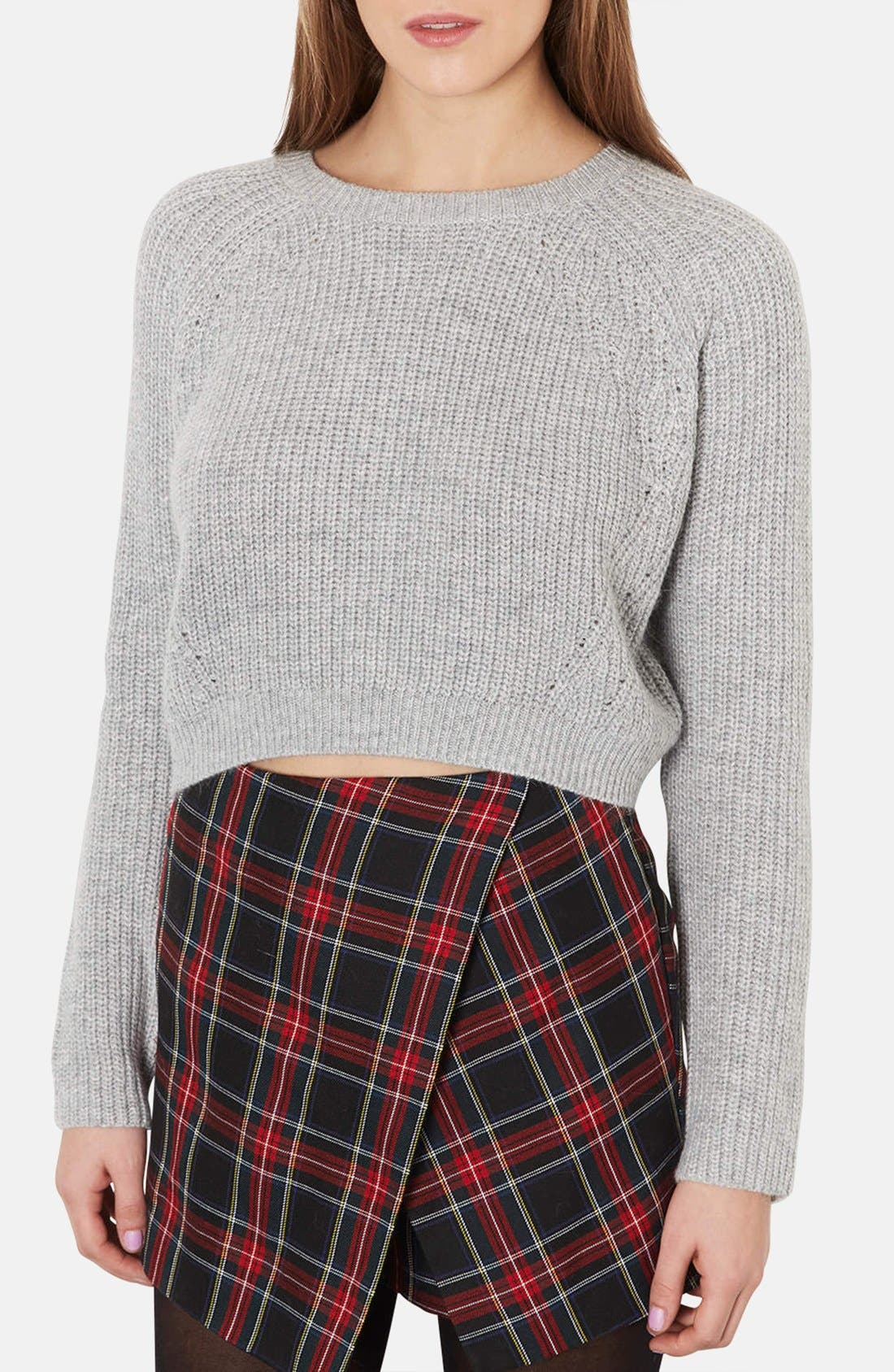 Alternate Image 1 Selected - Topshop Ribbed Crop Sweater
